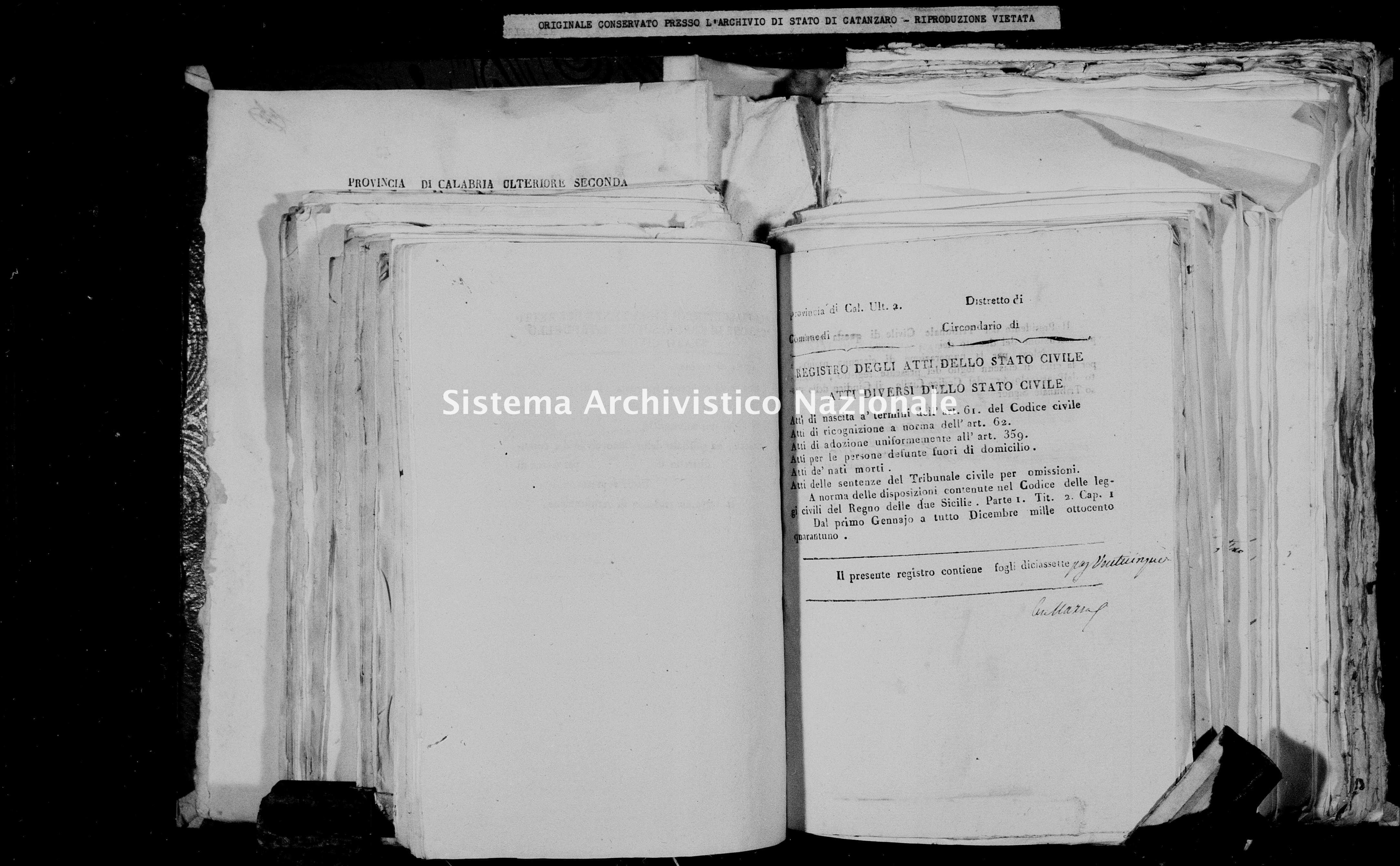 Archivio di stato di Catanzaro - Stato civile della restaurazione - Chiaravalle - Diversi - 1841 -