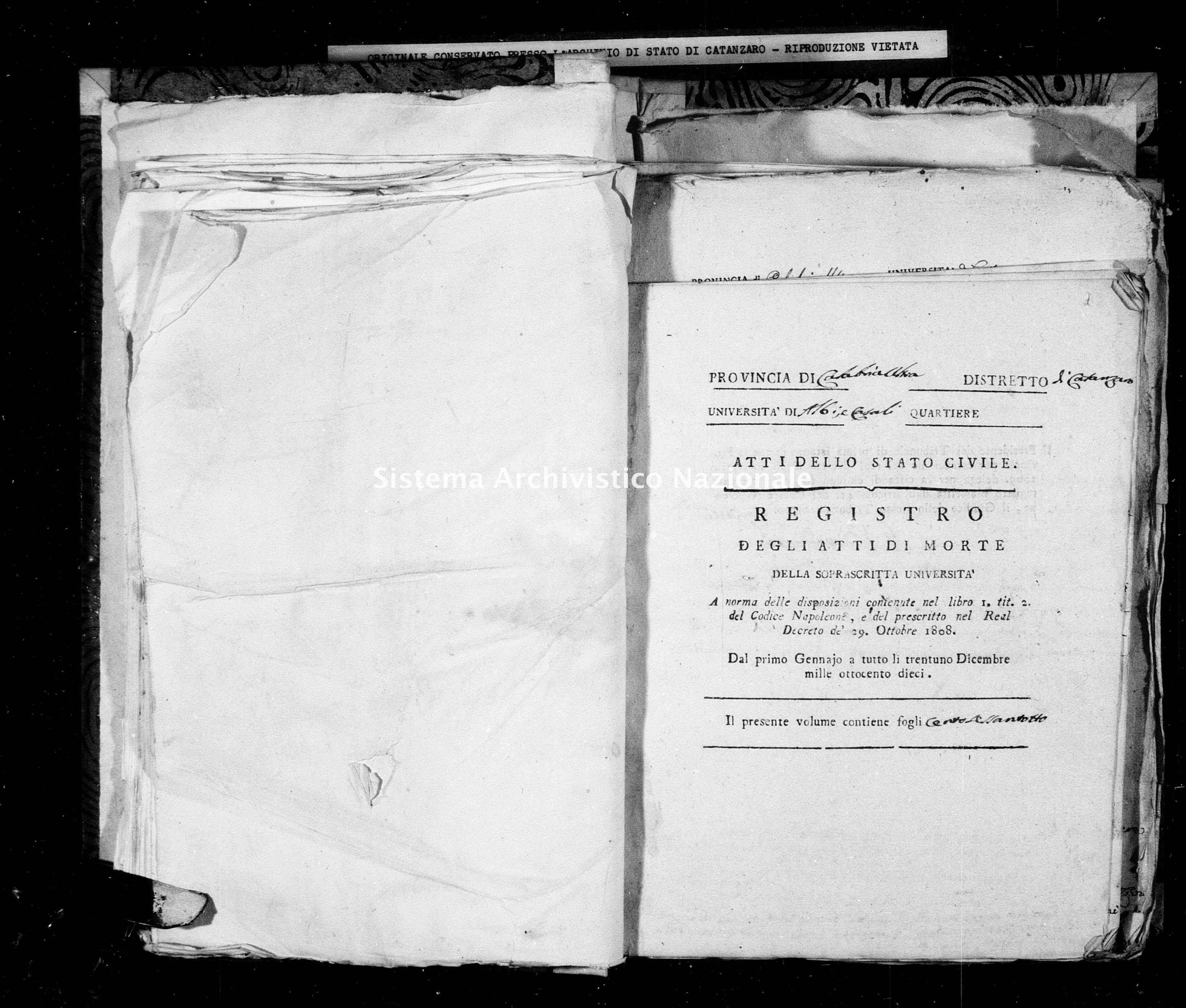 Archivio di stato di Catanzaro - Stato civile napoleonico - Albi - Morti - 1810 -