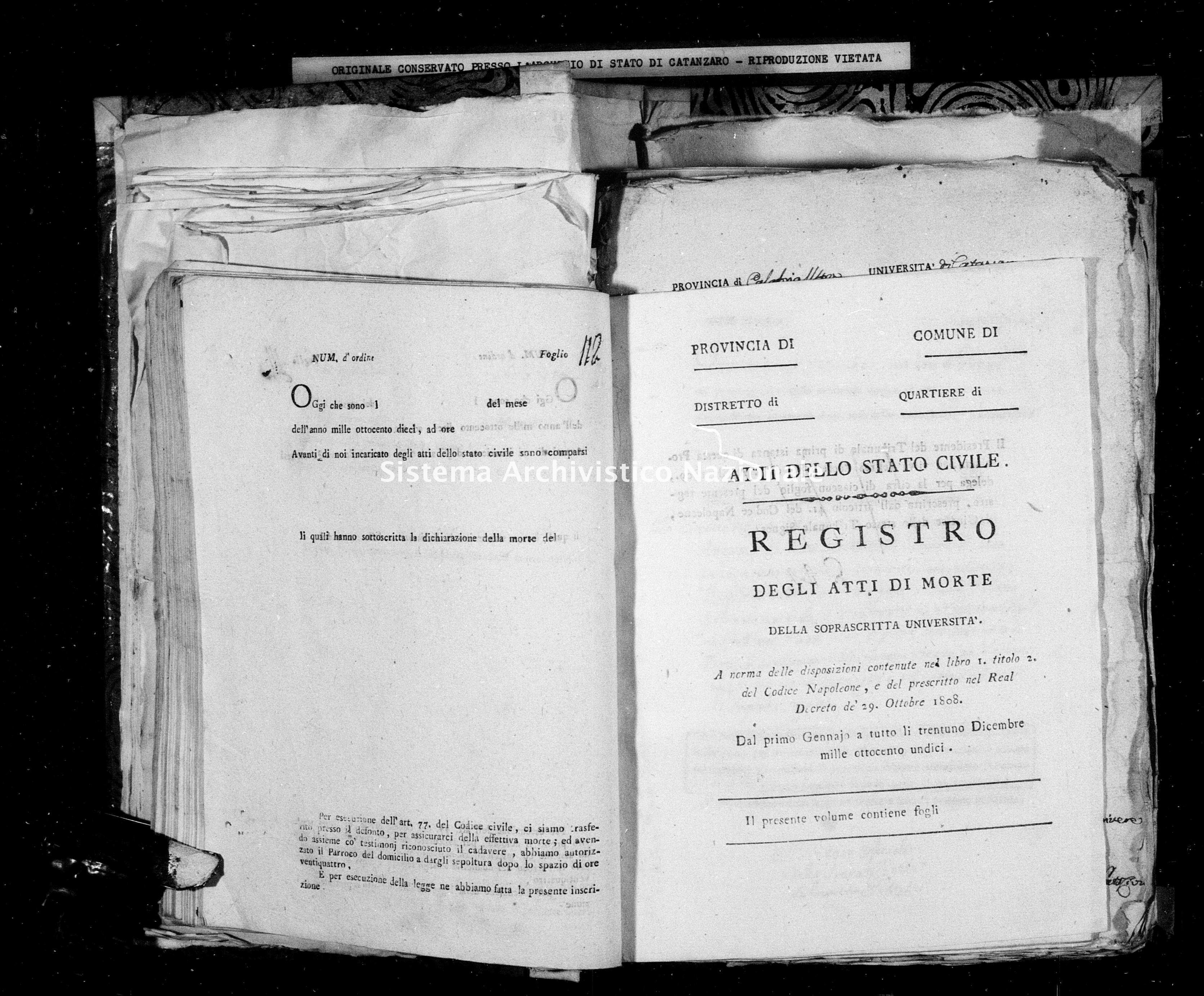 Archivio di stato di Catanzaro - Stato civile napoleonico - Albi - Morti - 1811 -