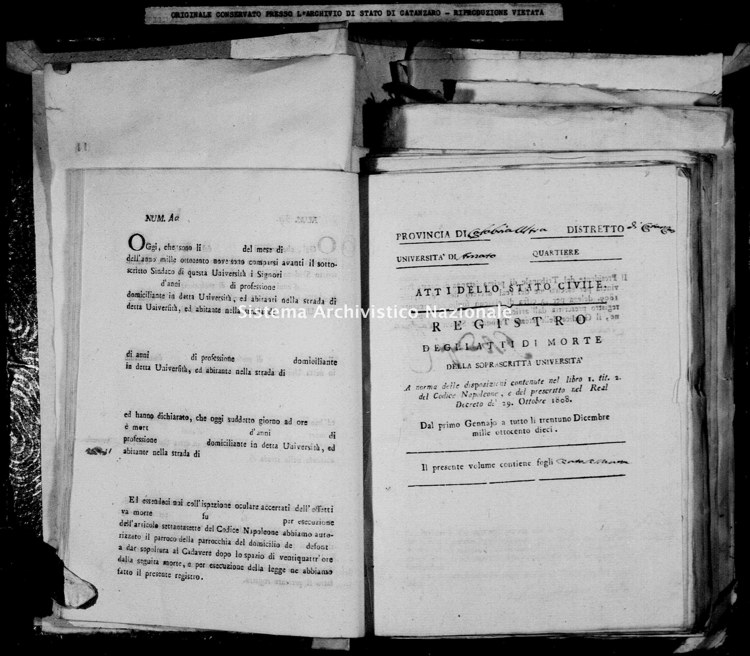 Archivio di stato di Catanzaro - Stato civile napoleonico - Amato - Morti - 1810 -