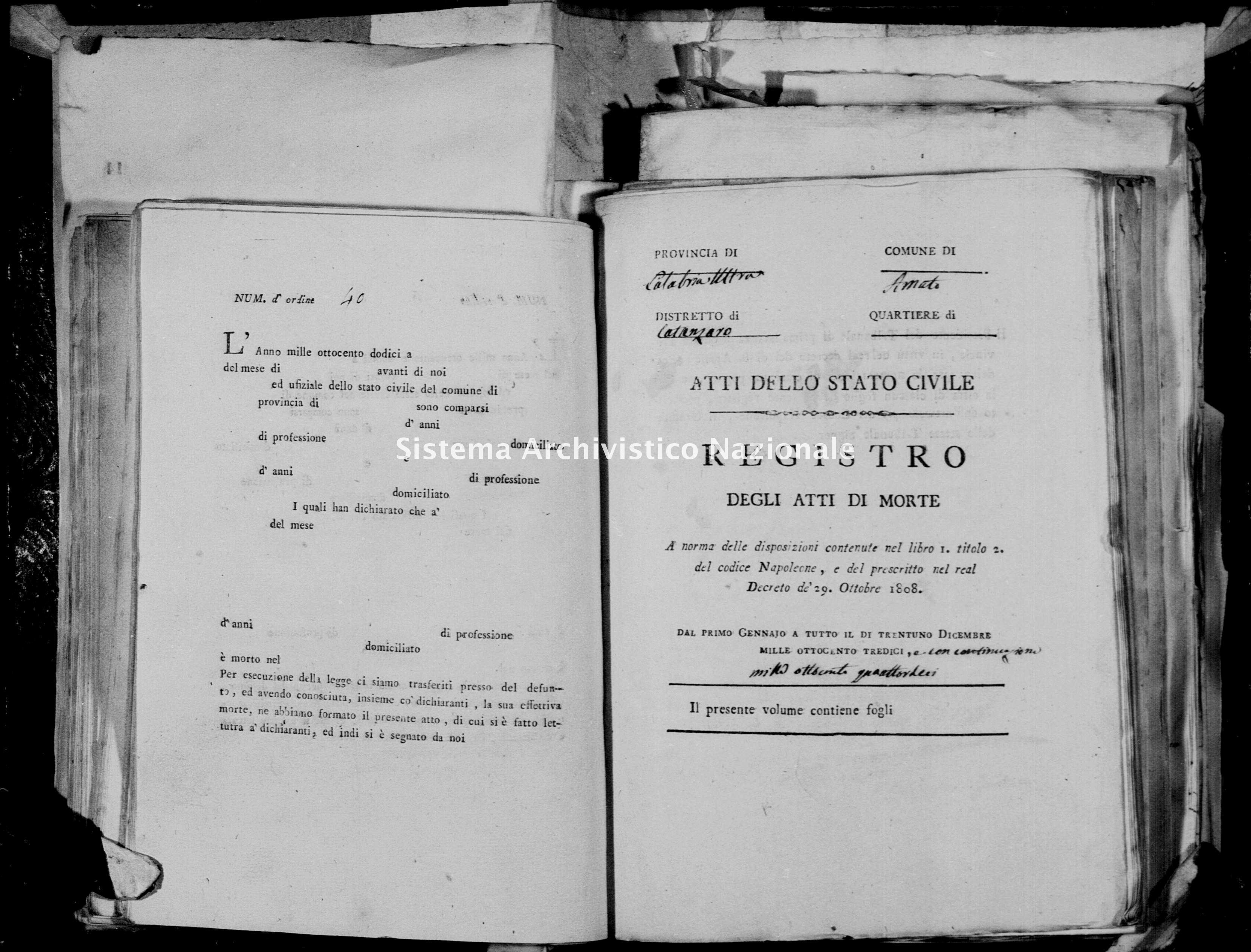 Archivio di stato di Catanzaro - Stato civile napoleonico - Amato - Morti - 1813 -