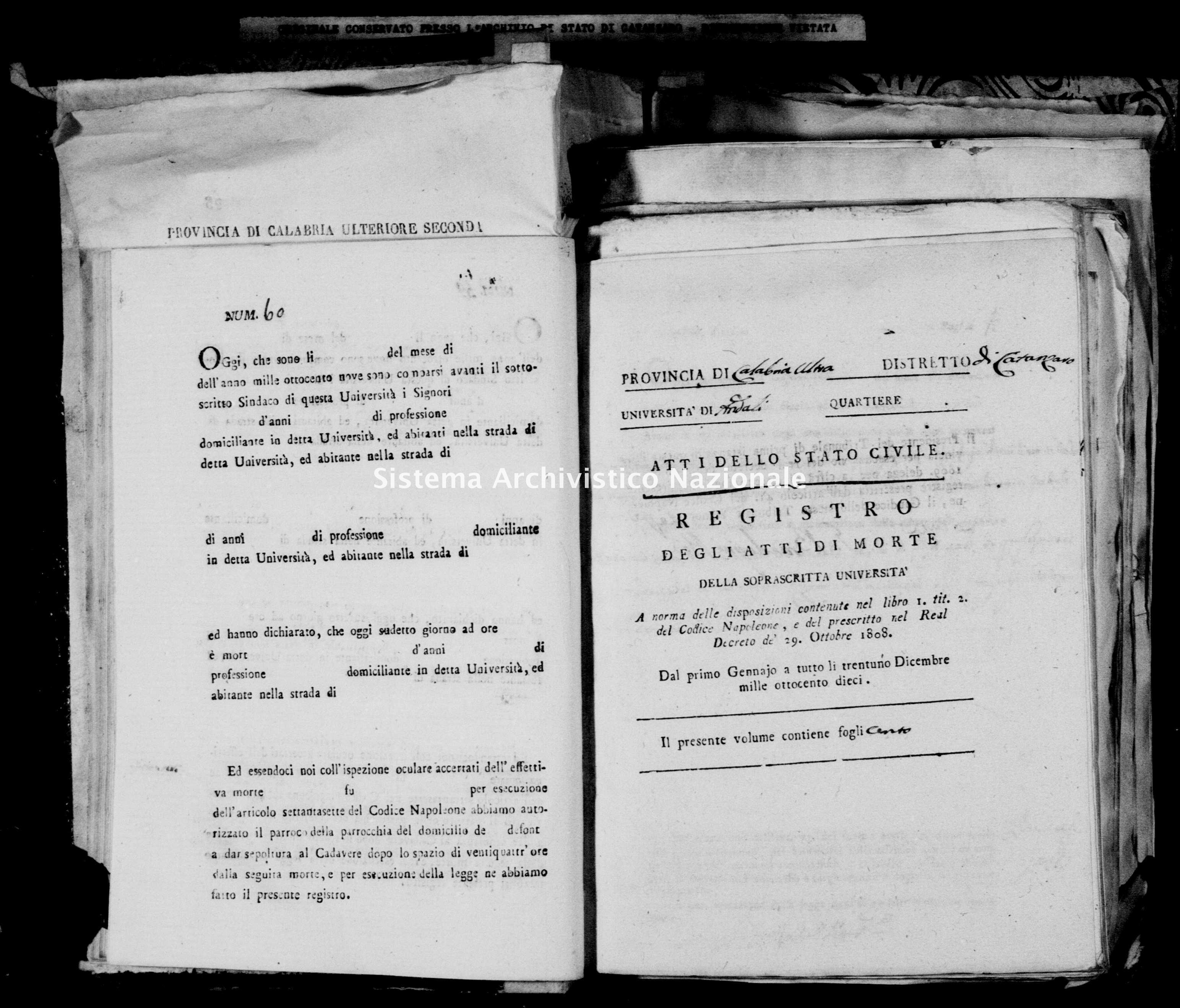 Archivio di stato di Catanzaro - Stato civile napoleonico - Andali - Morti - 1810 -