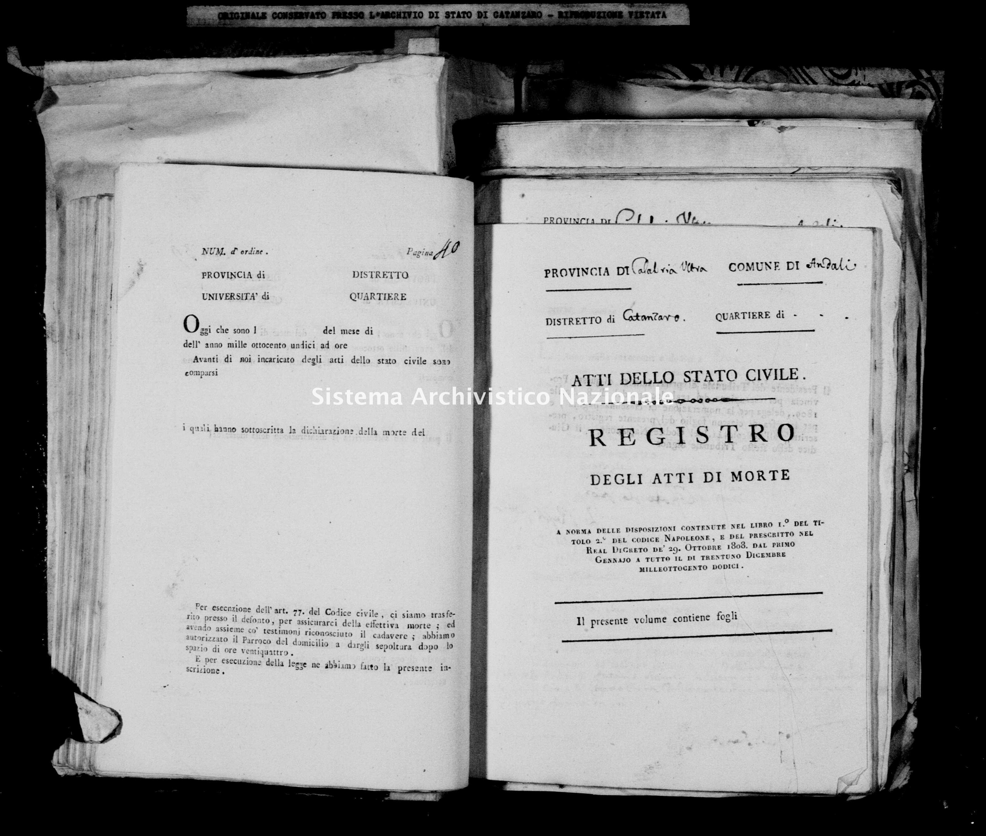 Archivio di stato di Catanzaro - Stato civile napoleonico - Andali - Morti - 1812 -