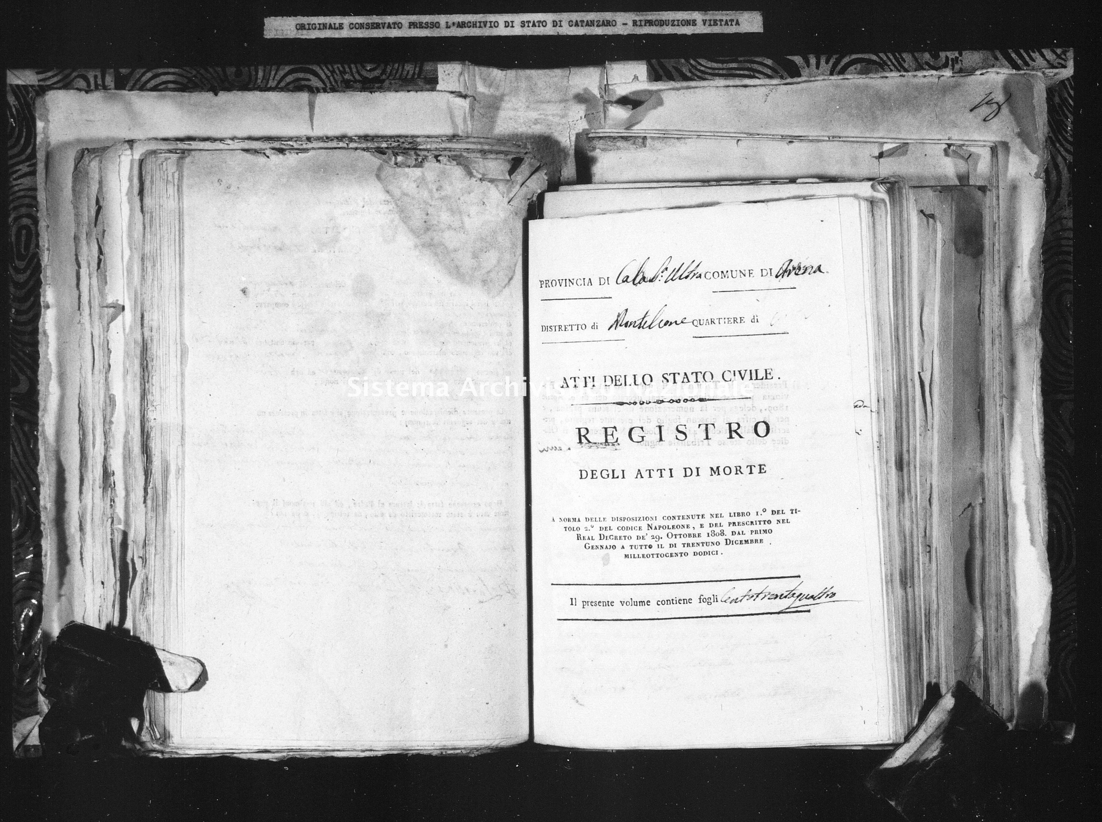 Archivio di stato di Catanzaro - Stato civile napoleonico - Arena - Morti - 1812 - 102 -
