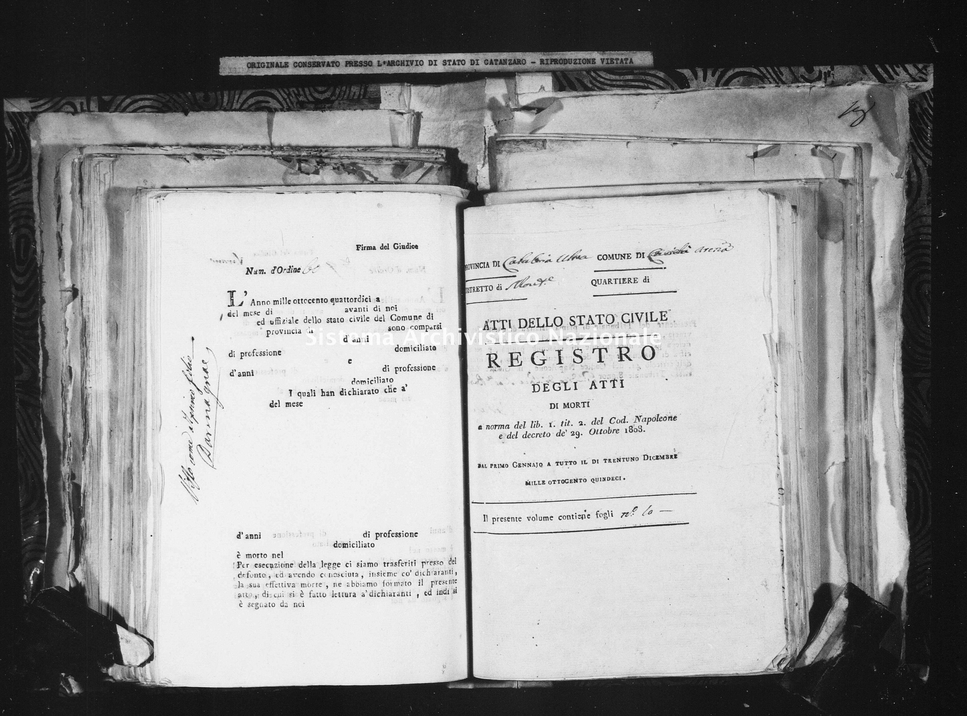 Archivio di stato di Catanzaro - Stato civile napoleonico - Arena - Morti - 1815 - 102 -