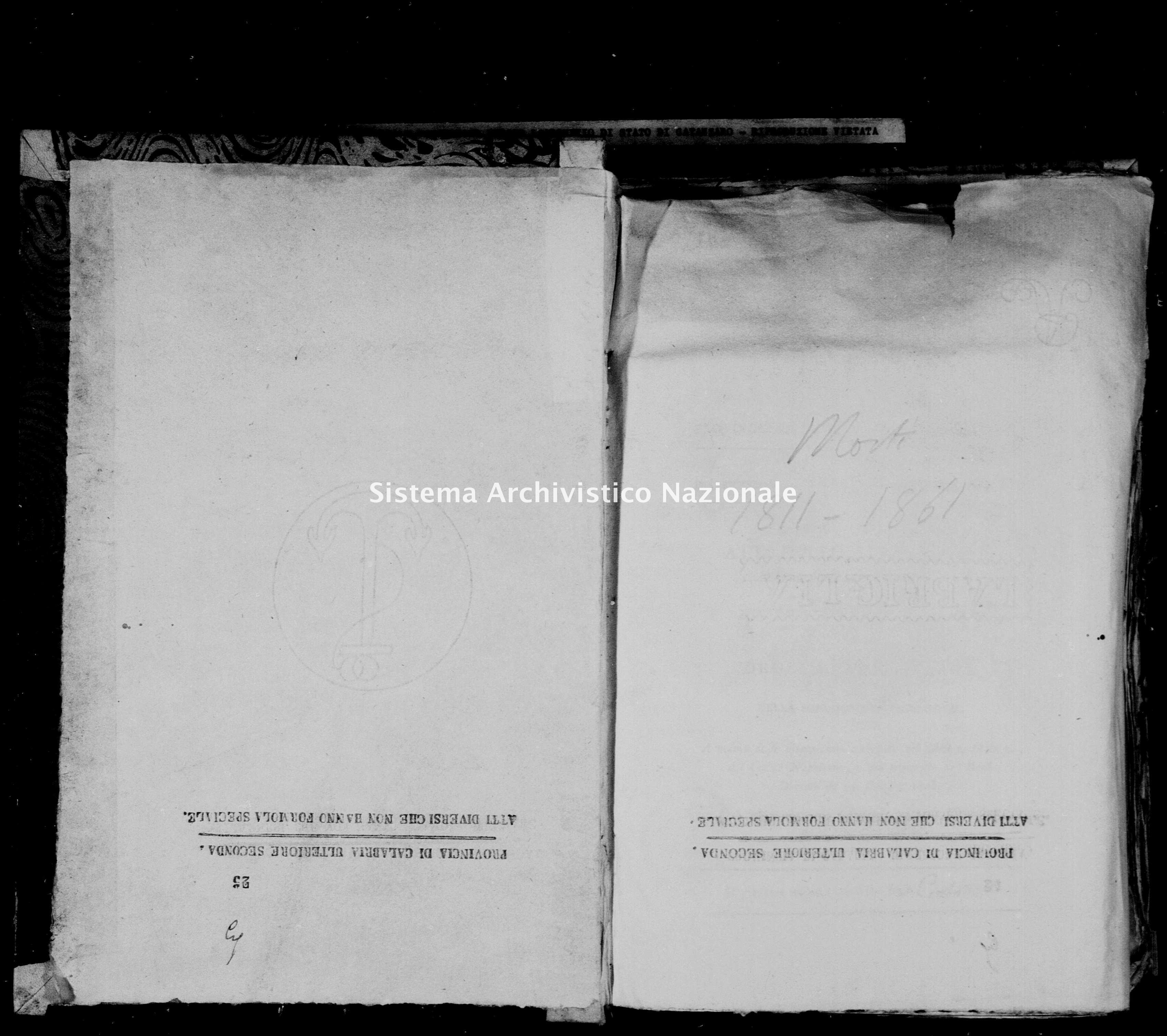 Archivio di stato di Catanzaro - Stato civile napoleonico - Arzona - Morti - 1811 -