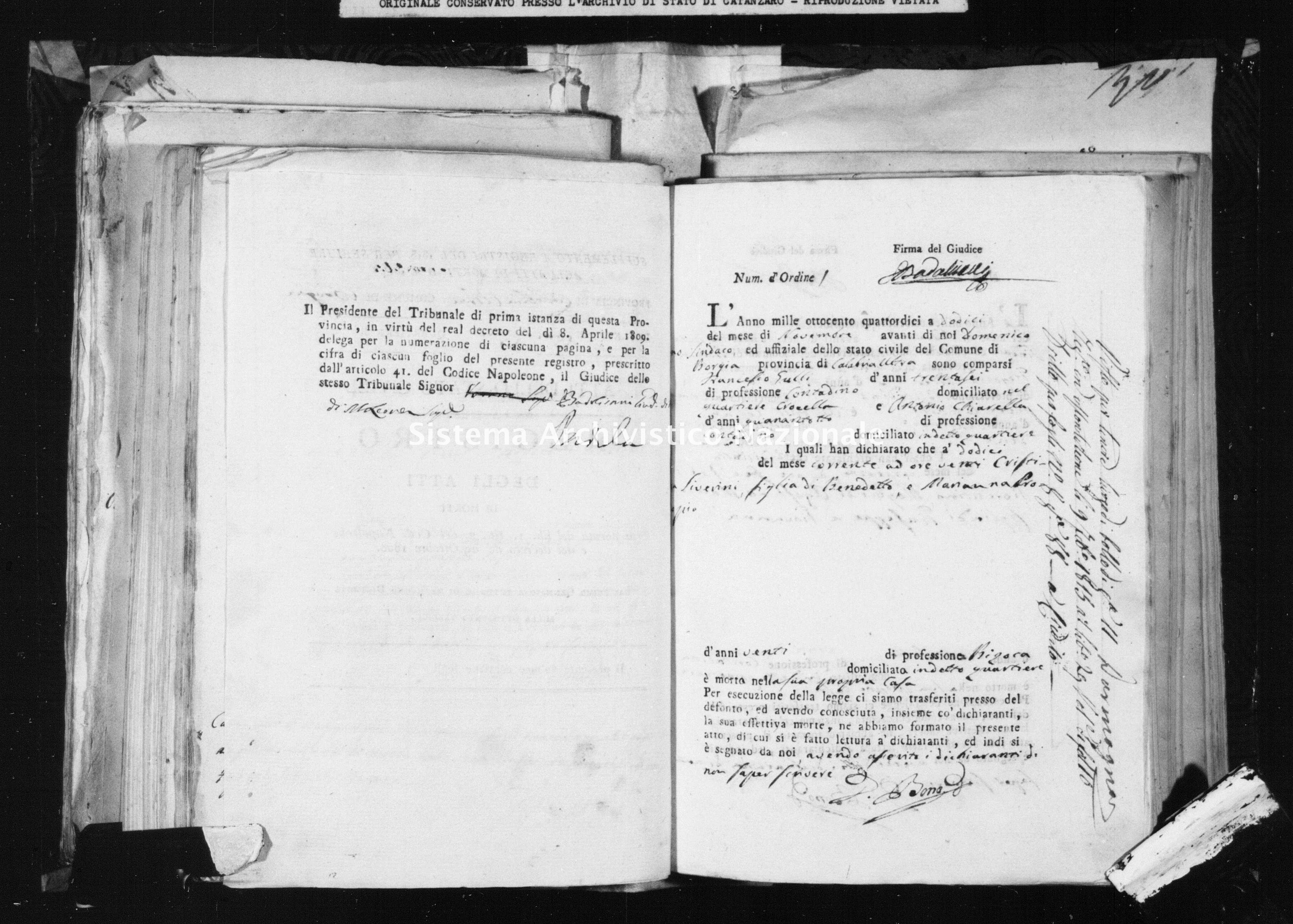 Archivio di stato di Catanzaro - Stato civile napoleonico - Borgia - Morti - 1814 -