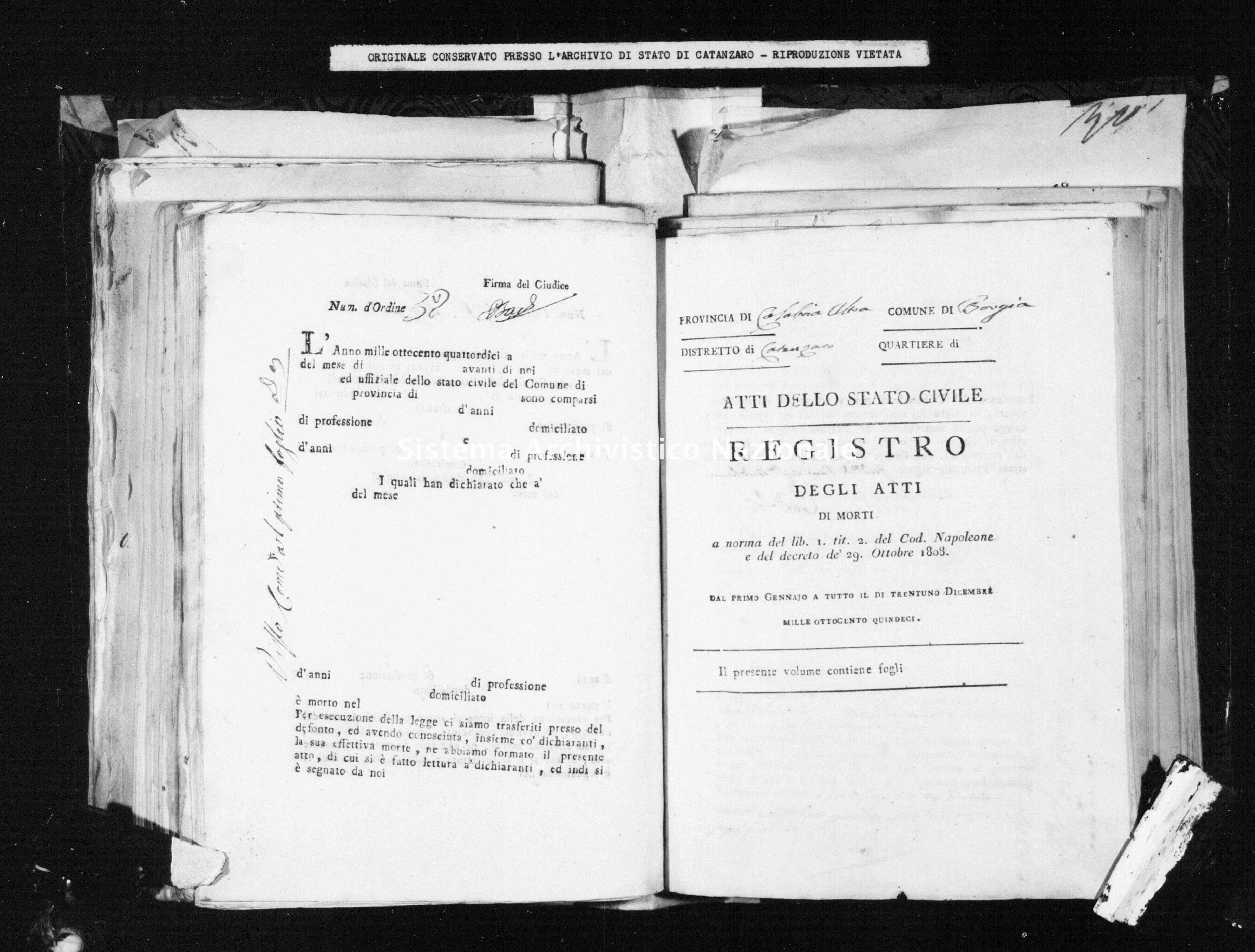 Archivio di stato di Catanzaro - Stato civile napoleonico - Borgia - Morti - 1815 -