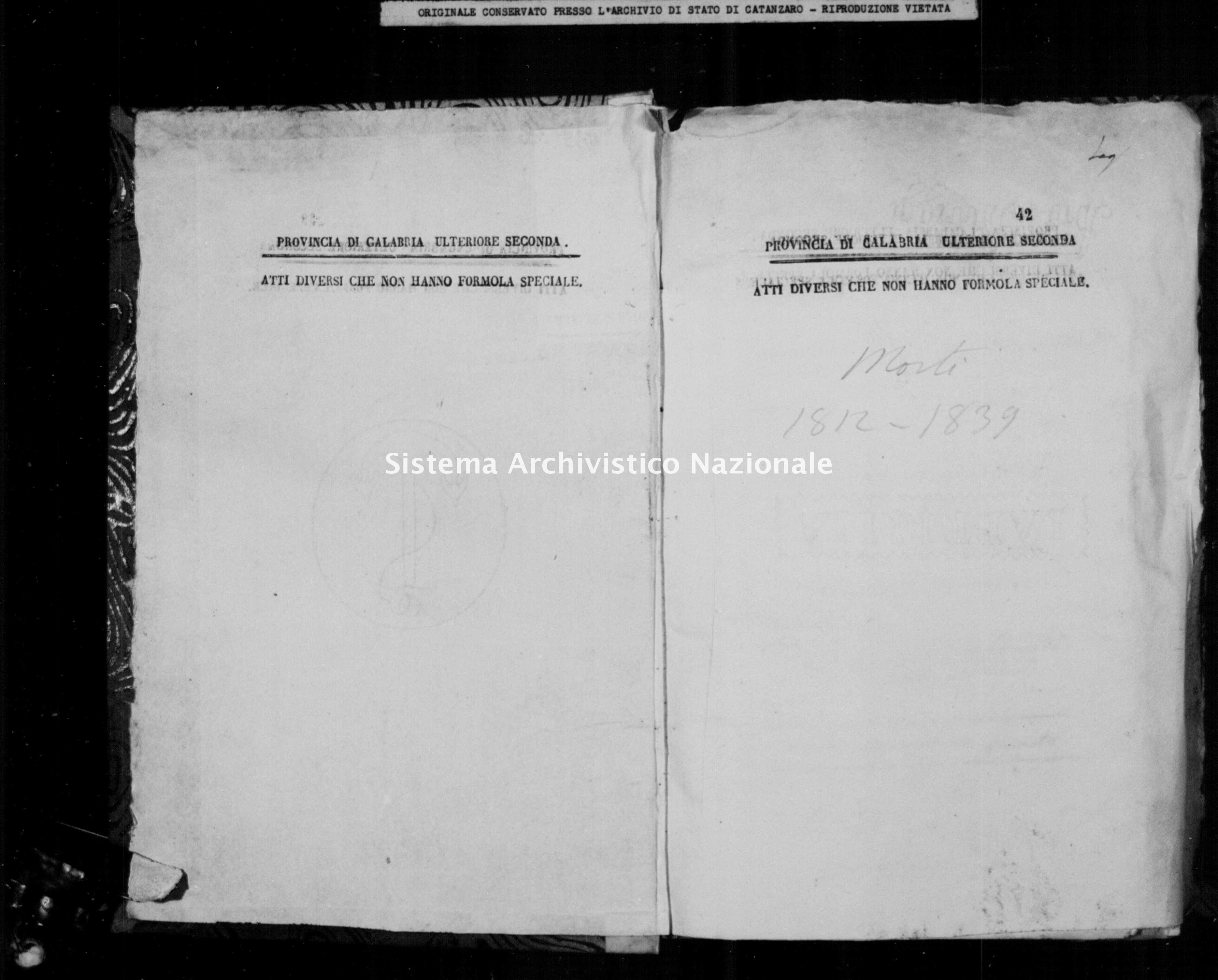Archivio di stato di Catanzaro - Stato civile napoleonico - Brattiro - Morti - 1812 -