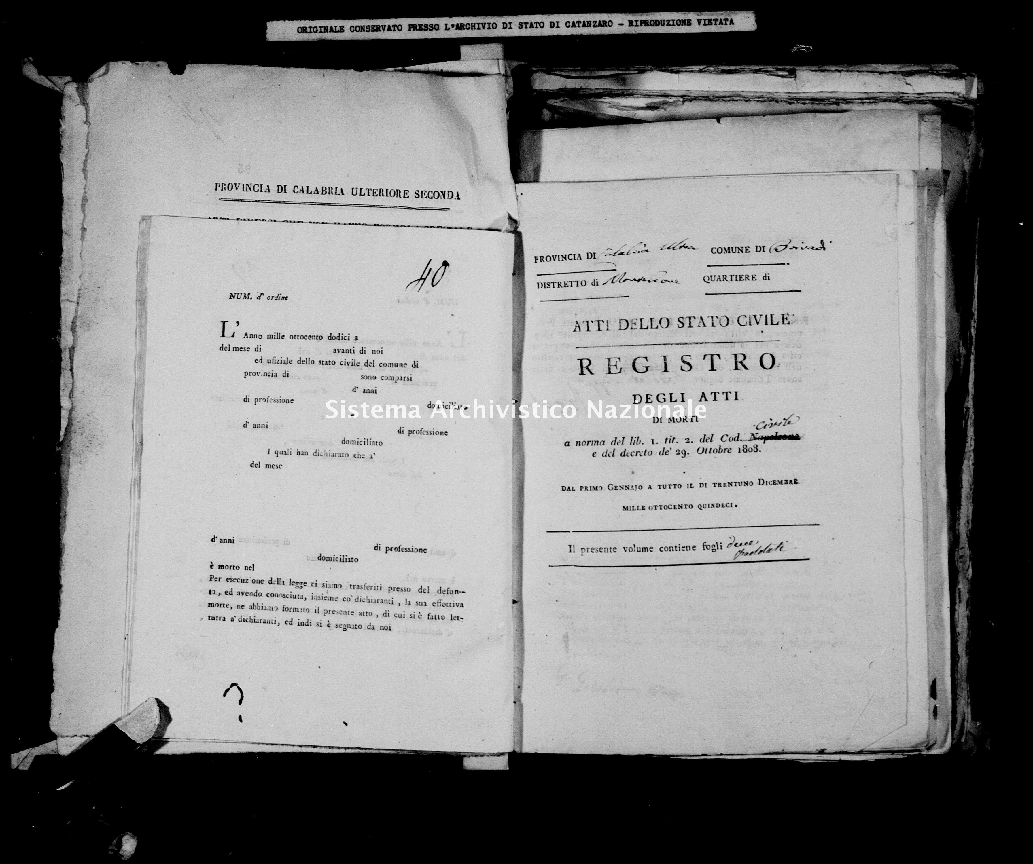 Archivio di stato di Catanzaro - Stato civile napoleonico - Brivadi - Morti - 1815 -