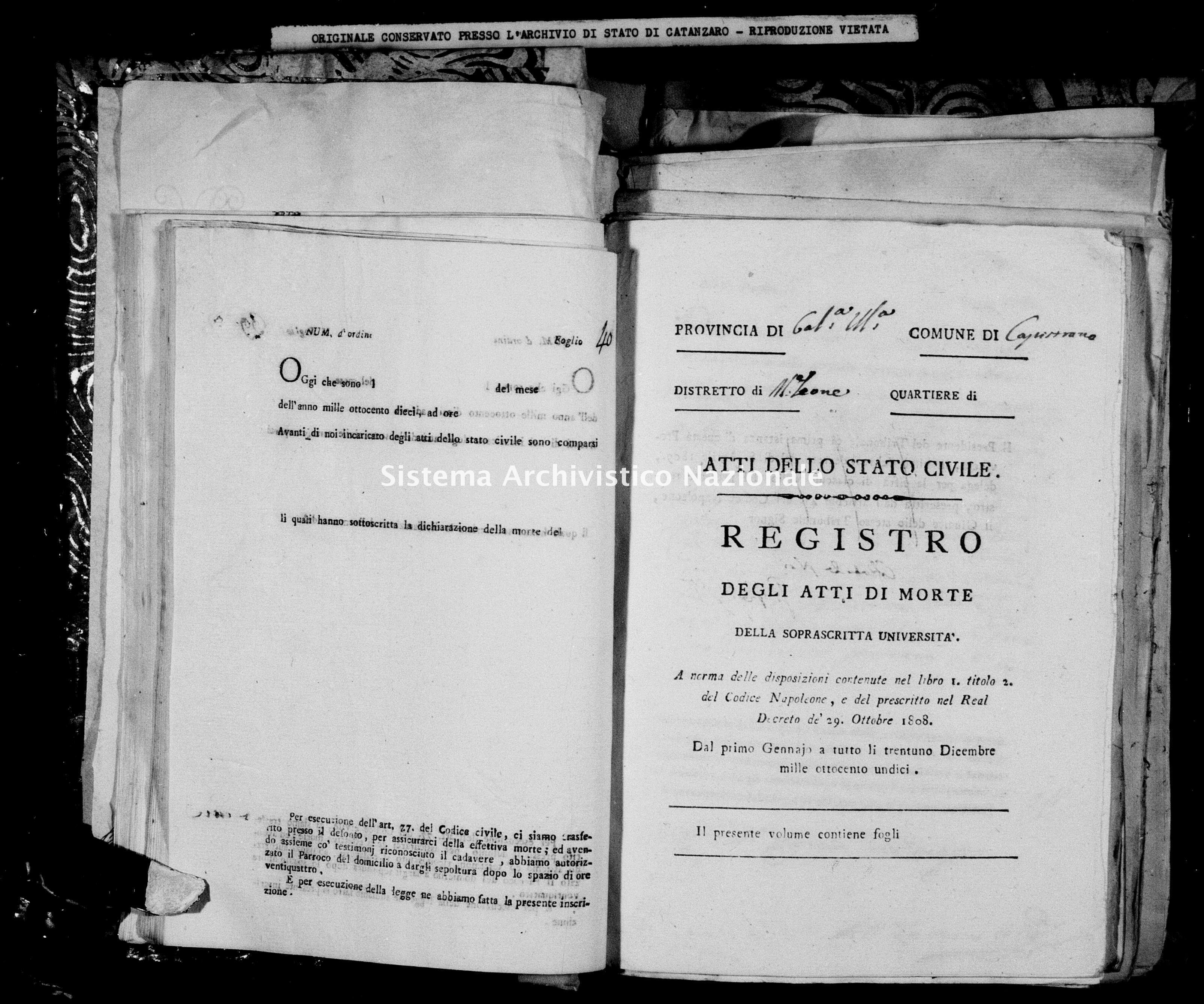 Archivio di stato di Catanzaro - Stato civile napoleonico - Capistrano - Morti - 1811 -