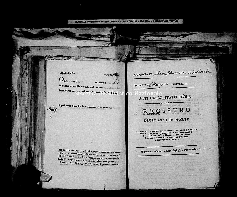 Archivio di stato di Catanzaro - Stato civile napoleonico - Cardinale - Morti - 1812 -