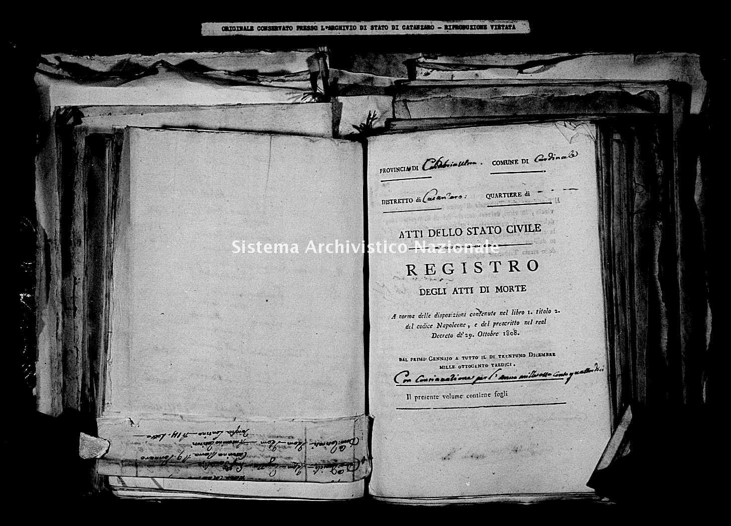 Archivio di stato di Catanzaro - Stato civile napoleonico - Cardinale - Morti - 1813-1814 -