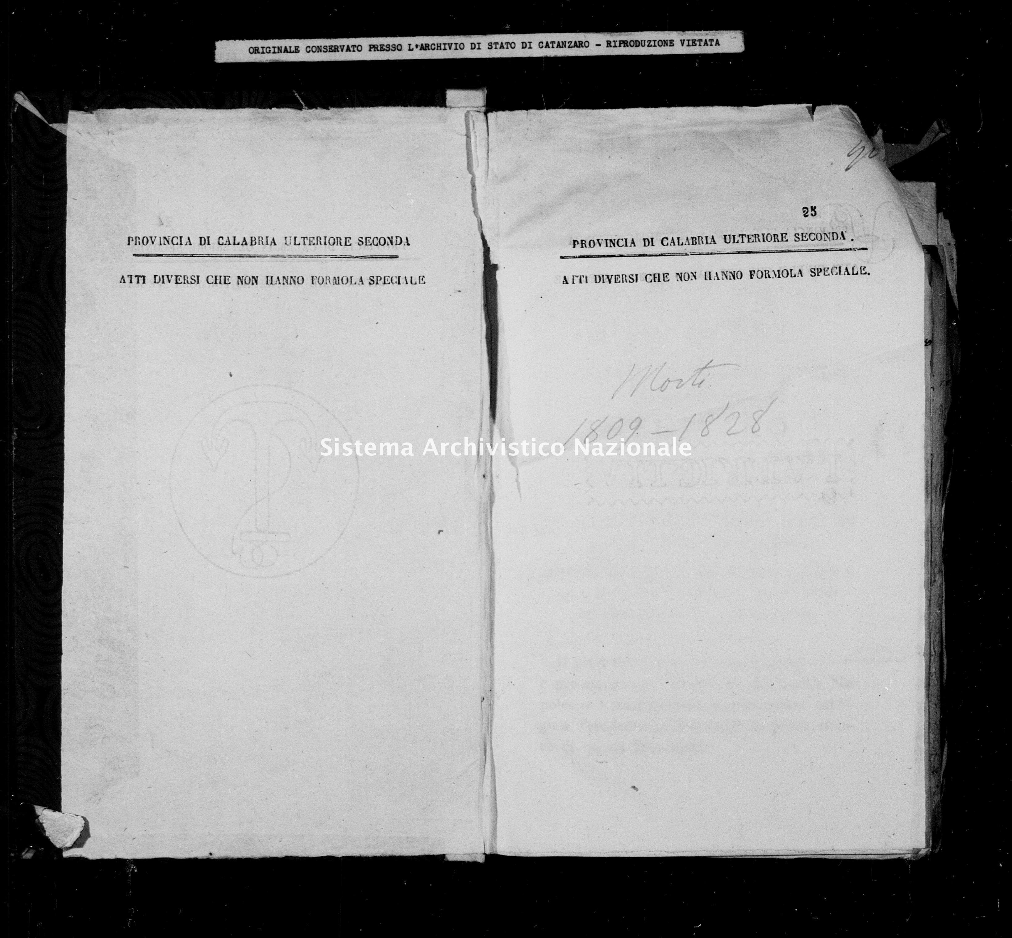 Archivio di stato di Catanzaro - Stato civile napoleonico - Carlopoli - Morti - 1809 -