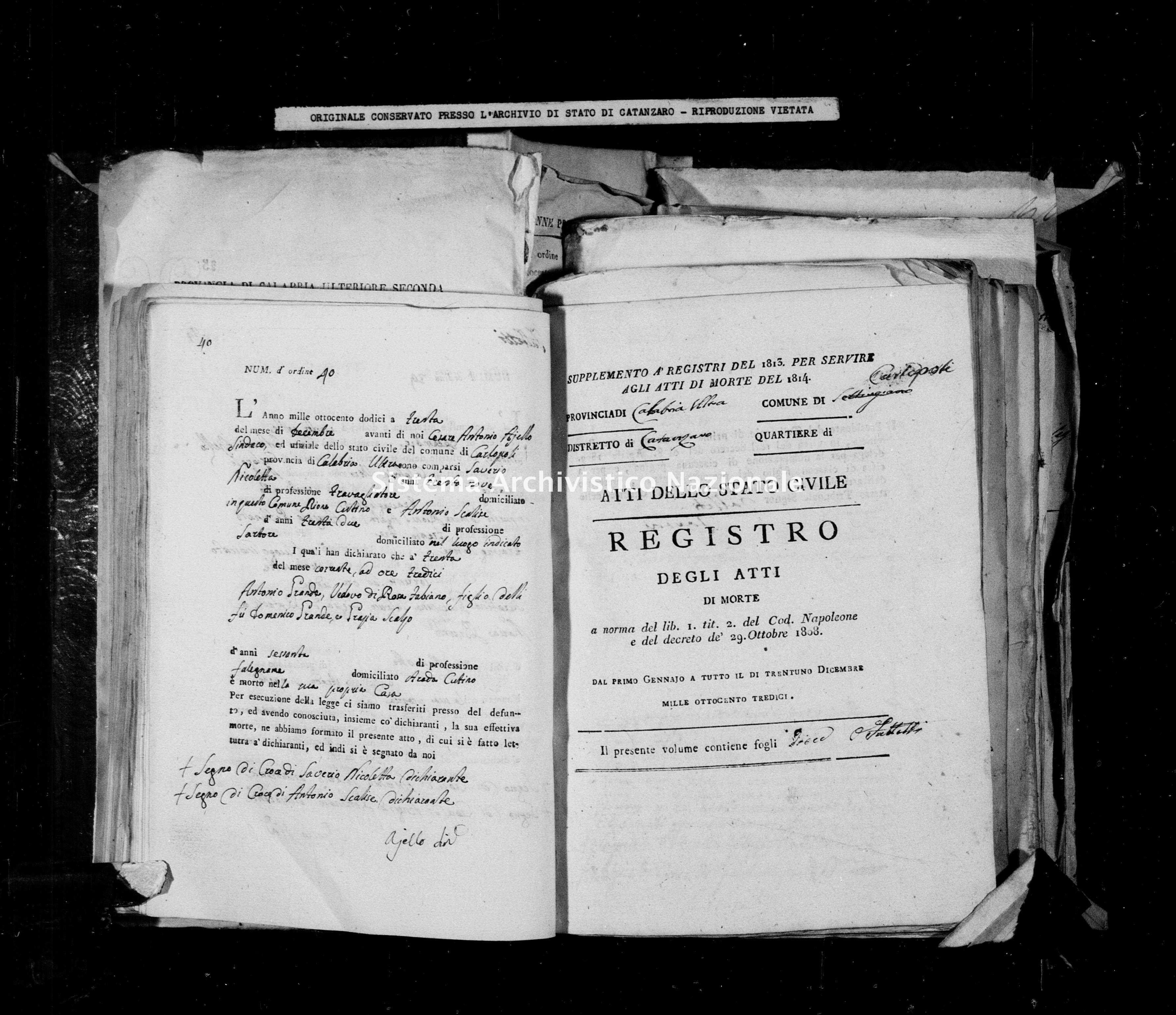 Archivio di stato di Catanzaro - Stato civile napoleonico - Carlopoli - Morti - 1814 -
