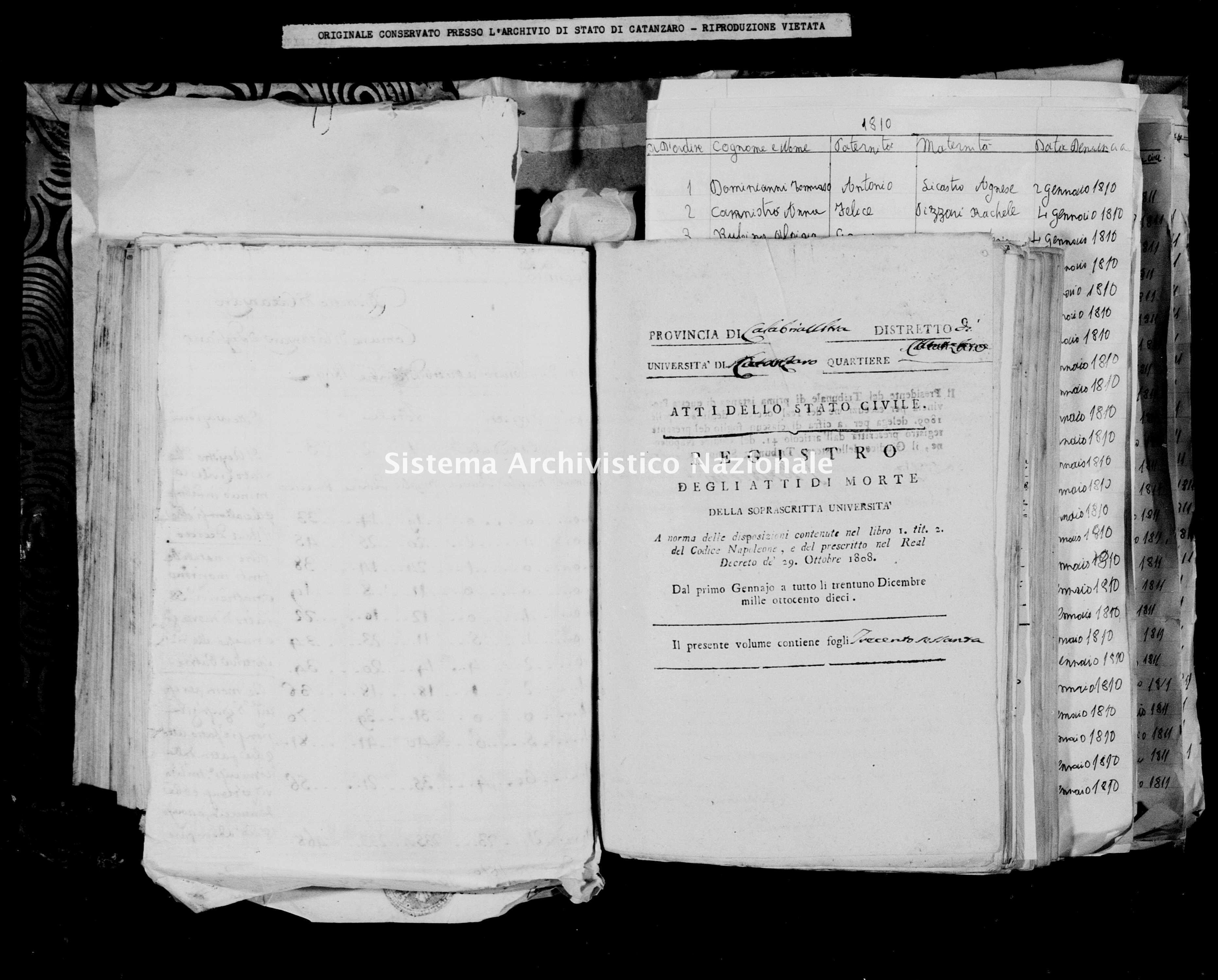 Archivio di stato di Catanzaro - Stato civile napoleonico - Catanzaro - Morti - 1810 -
