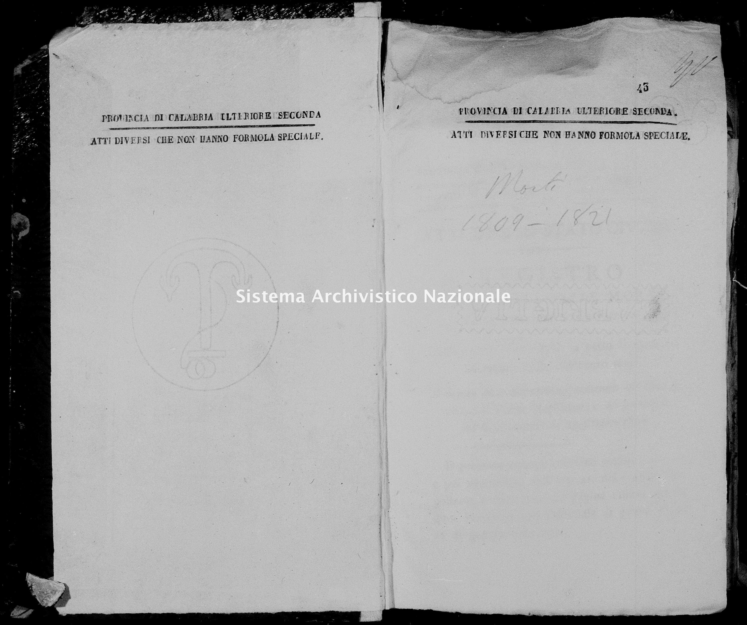 Archivio di stato di Catanzaro - Stato civile napoleonico - Chiaravalle - Morti - 1809 -