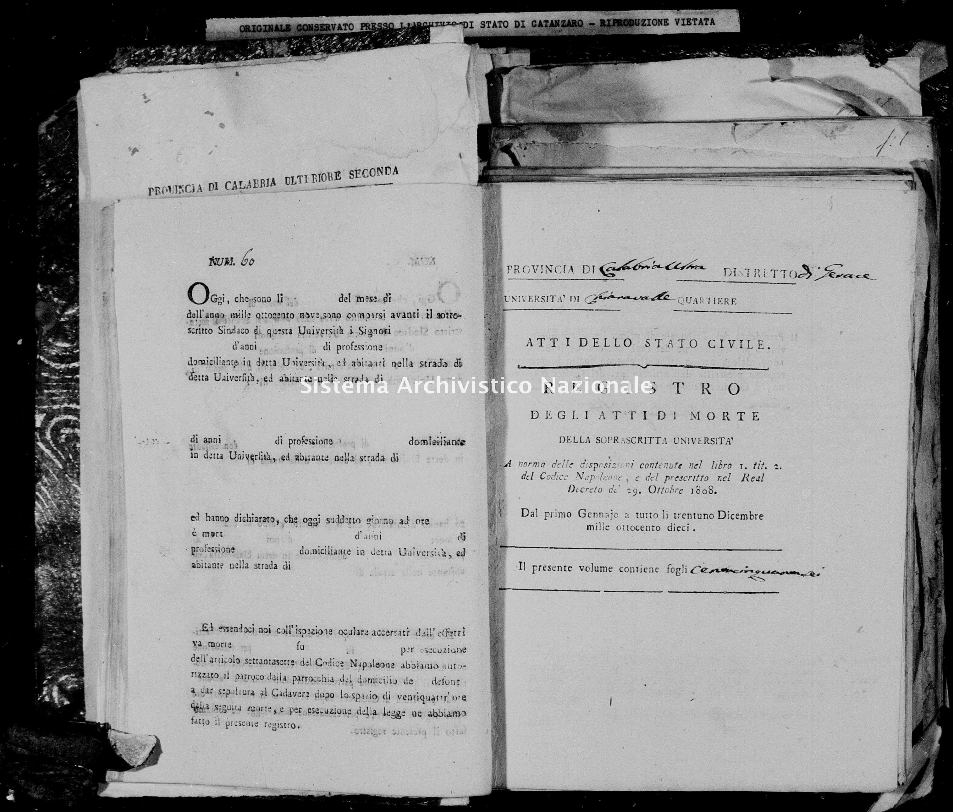 Archivio di stato di Catanzaro - Stato civile napoleonico - Chiaravalle - Morti - 1810 -