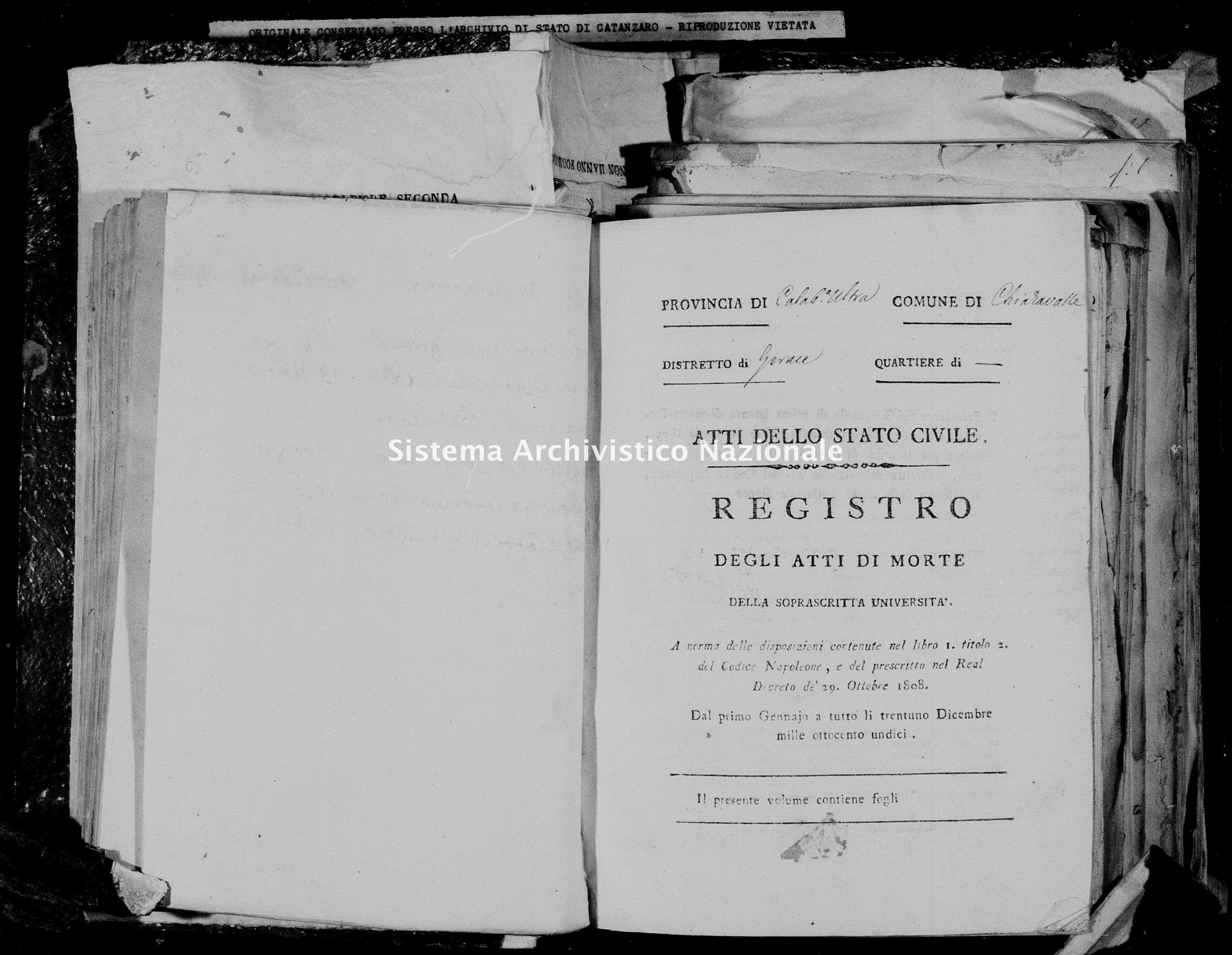 Archivio di stato di Catanzaro - Stato civile napoleonico - Chiaravalle - Morti - 1811 -