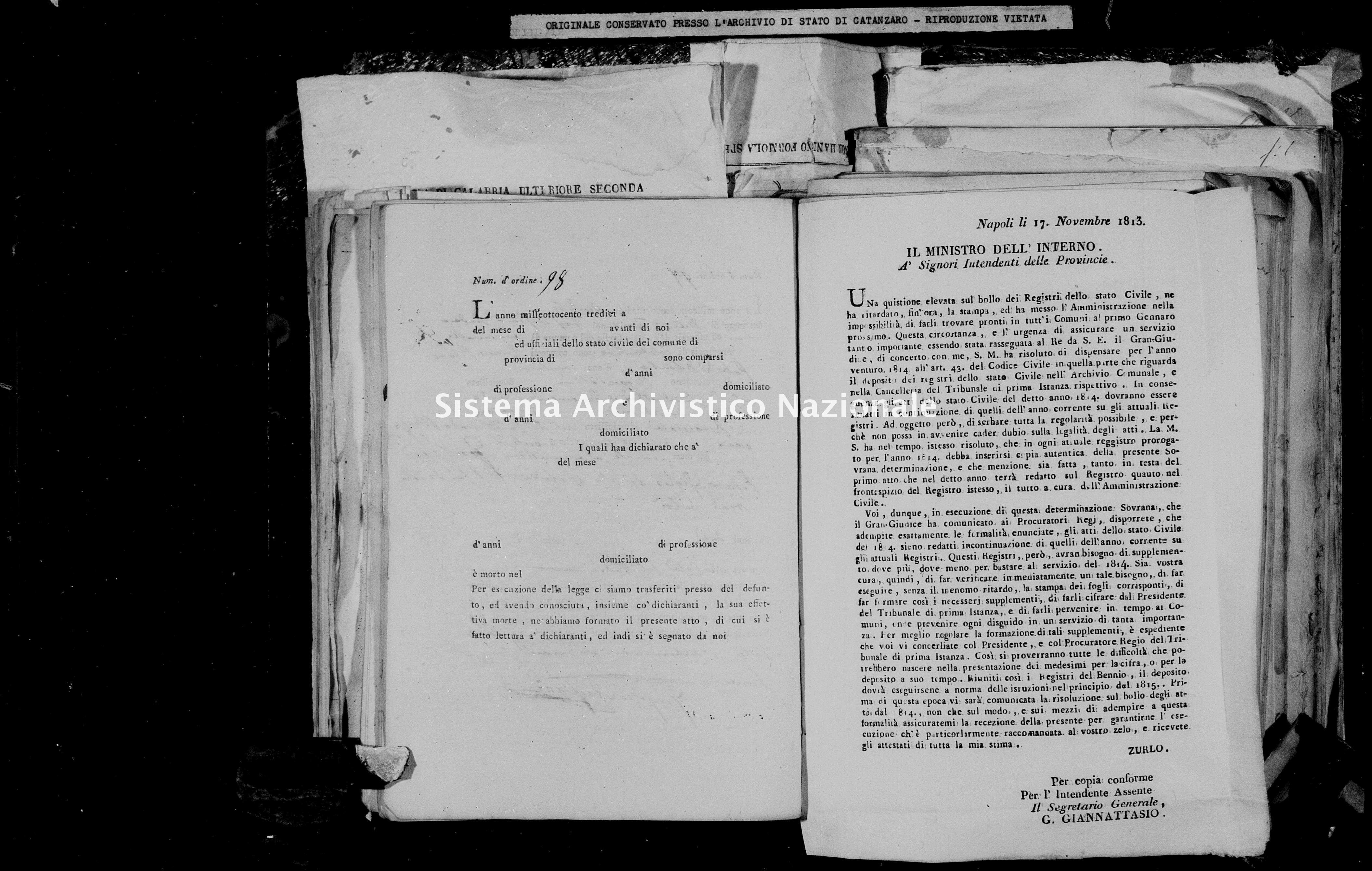 Archivio di stato di Catanzaro - Stato civile napoleonico - Chiaravalle - Morti - 1814 -
