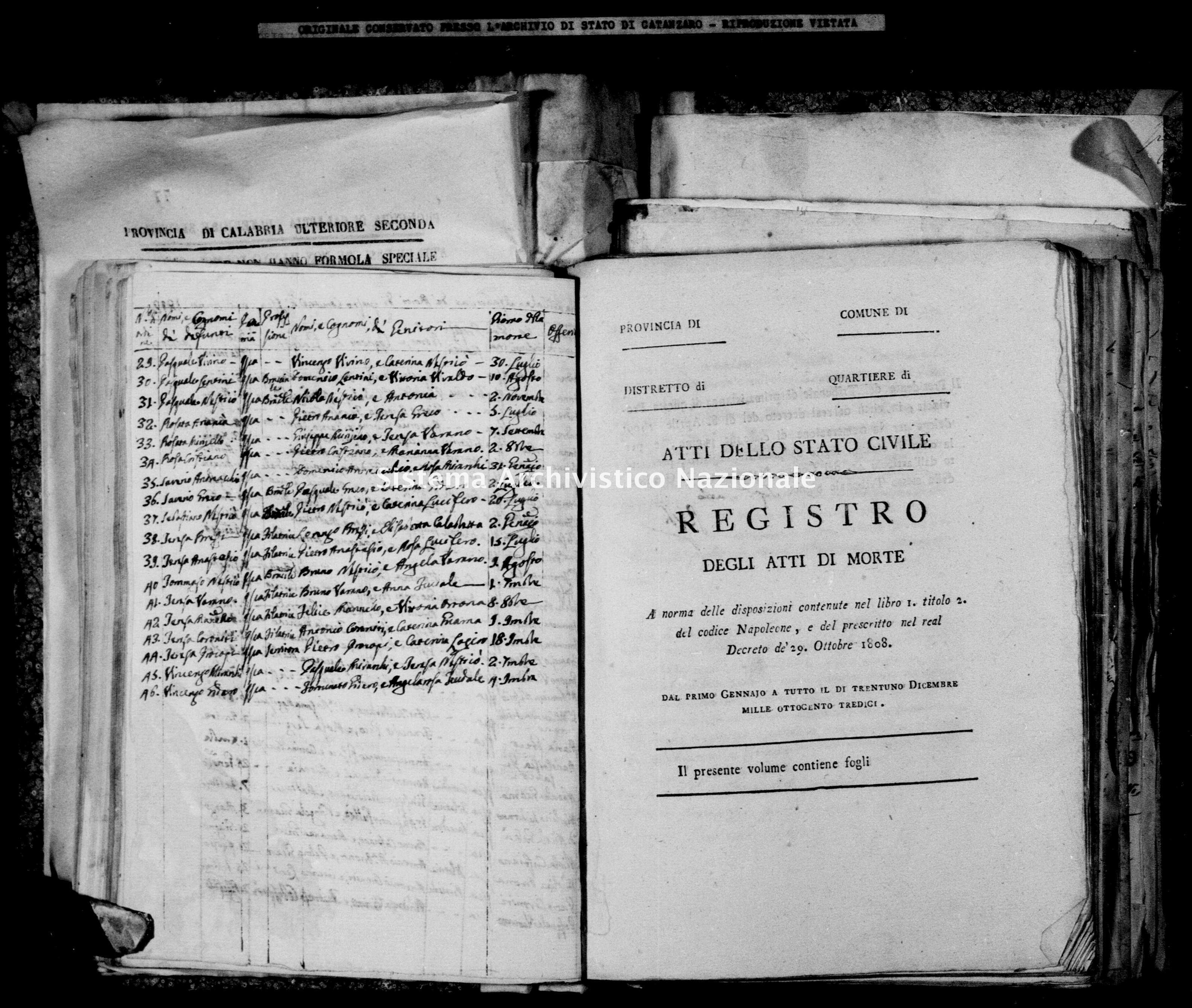 Archivio di stato di Catanzaro - Stato civile napoleonico - Isca sullo Ionio - Morti - 1813-1814 -