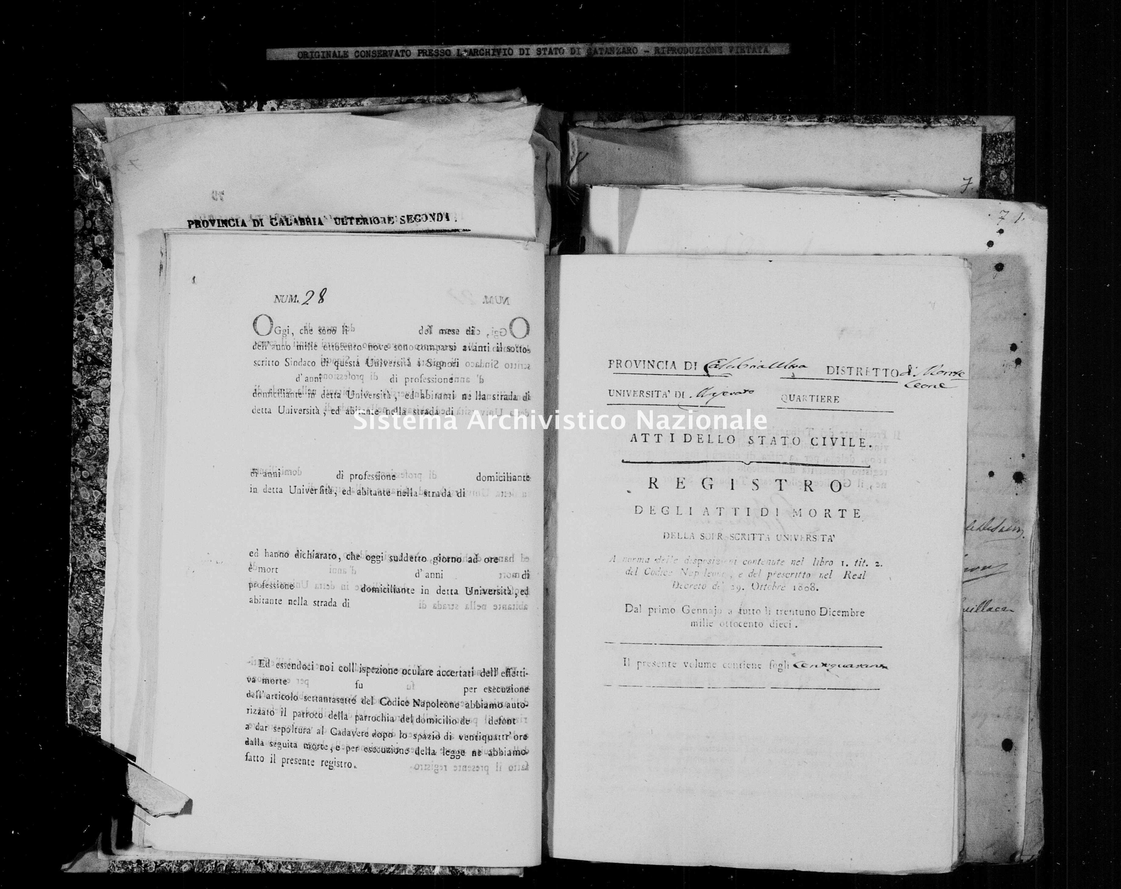 Archivio di stato di Catanzaro - Stato civile napoleonico - Maierato - Morti - 1810 -