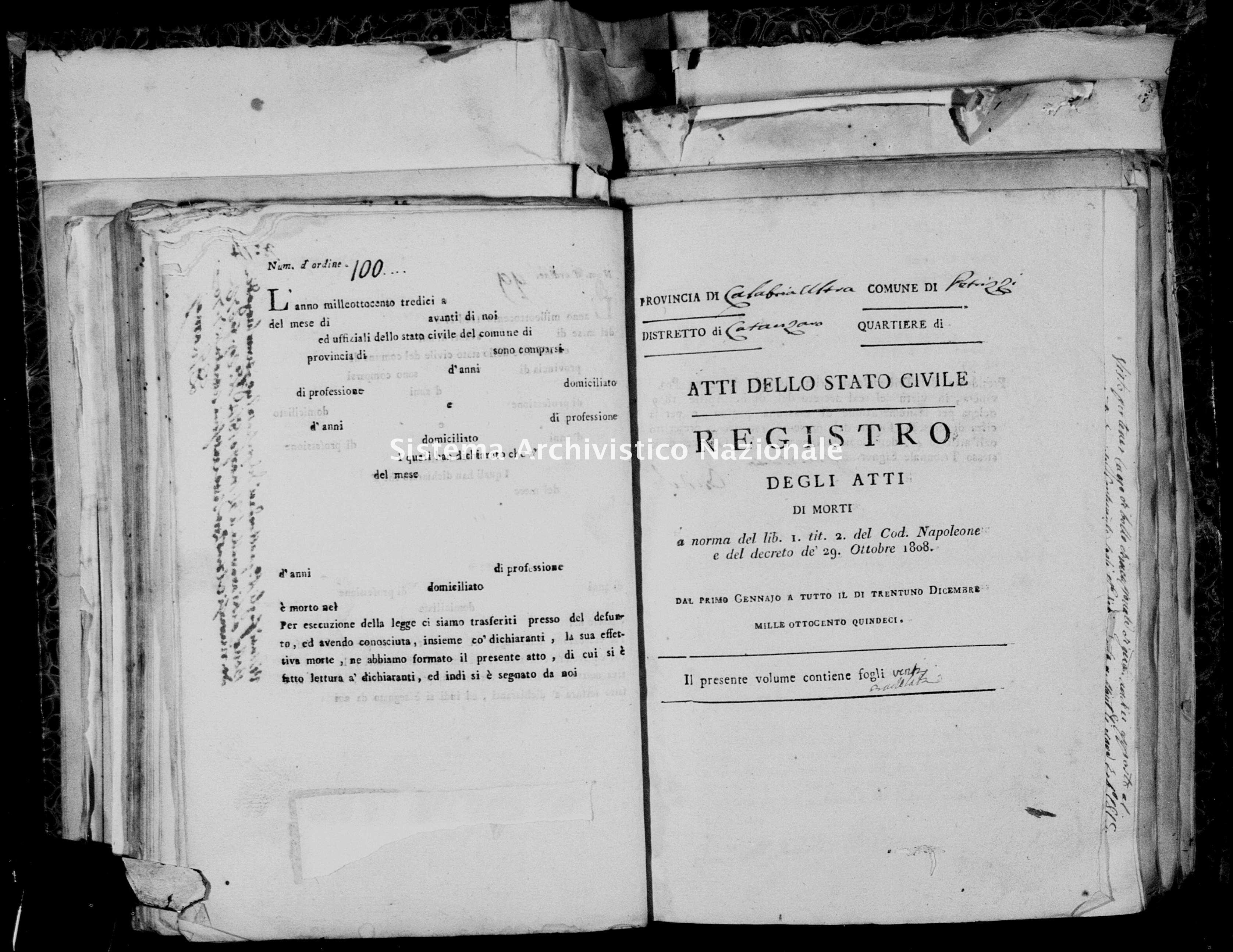 Archivio di stato di Catanzaro - Stato civile napoleonico - Petrizzi - Morti - 1815 - 2129 -