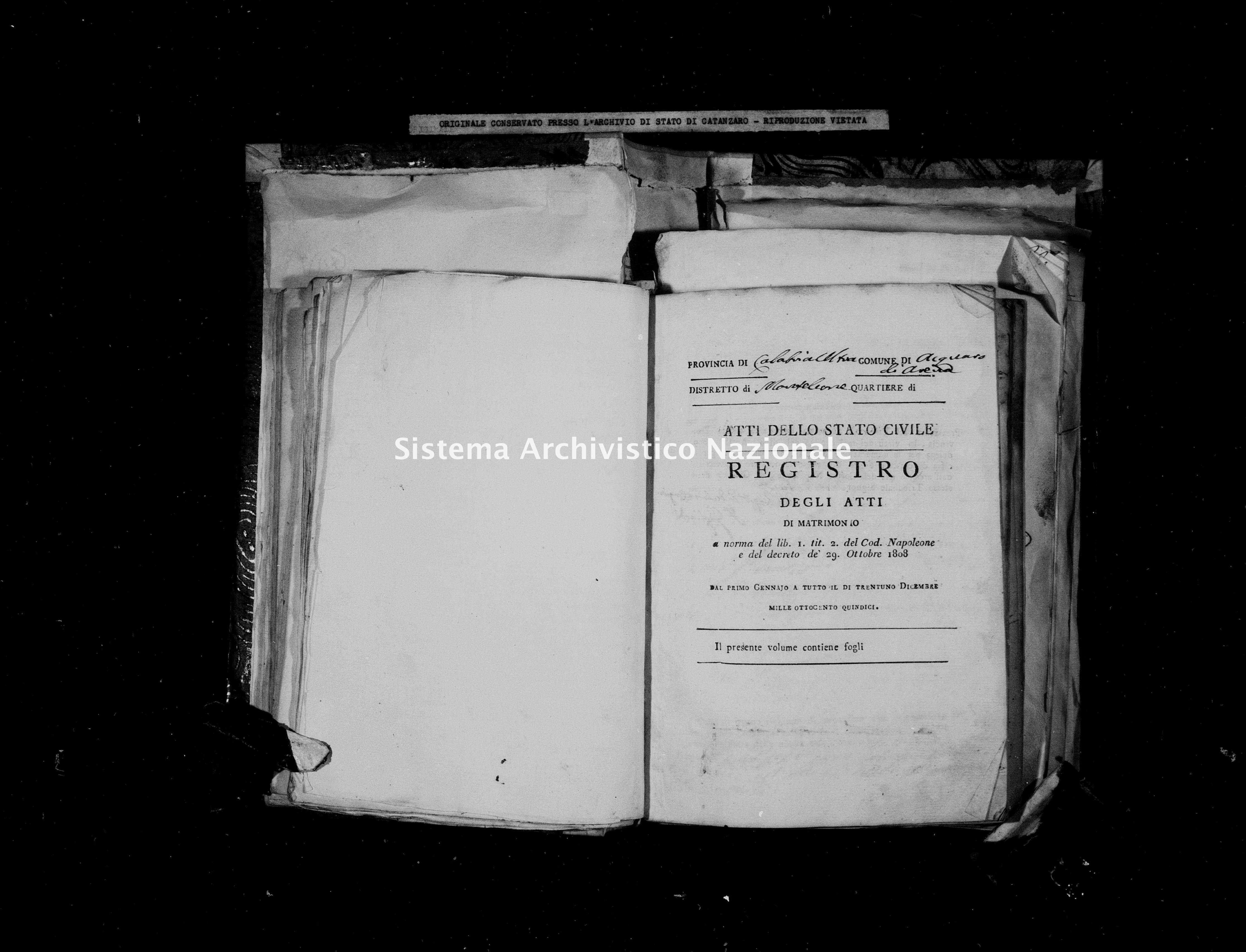 Archivio di stato di Catanzaro - Stato civile napoleonico - Acquaro - Matrimoni - 1815 -