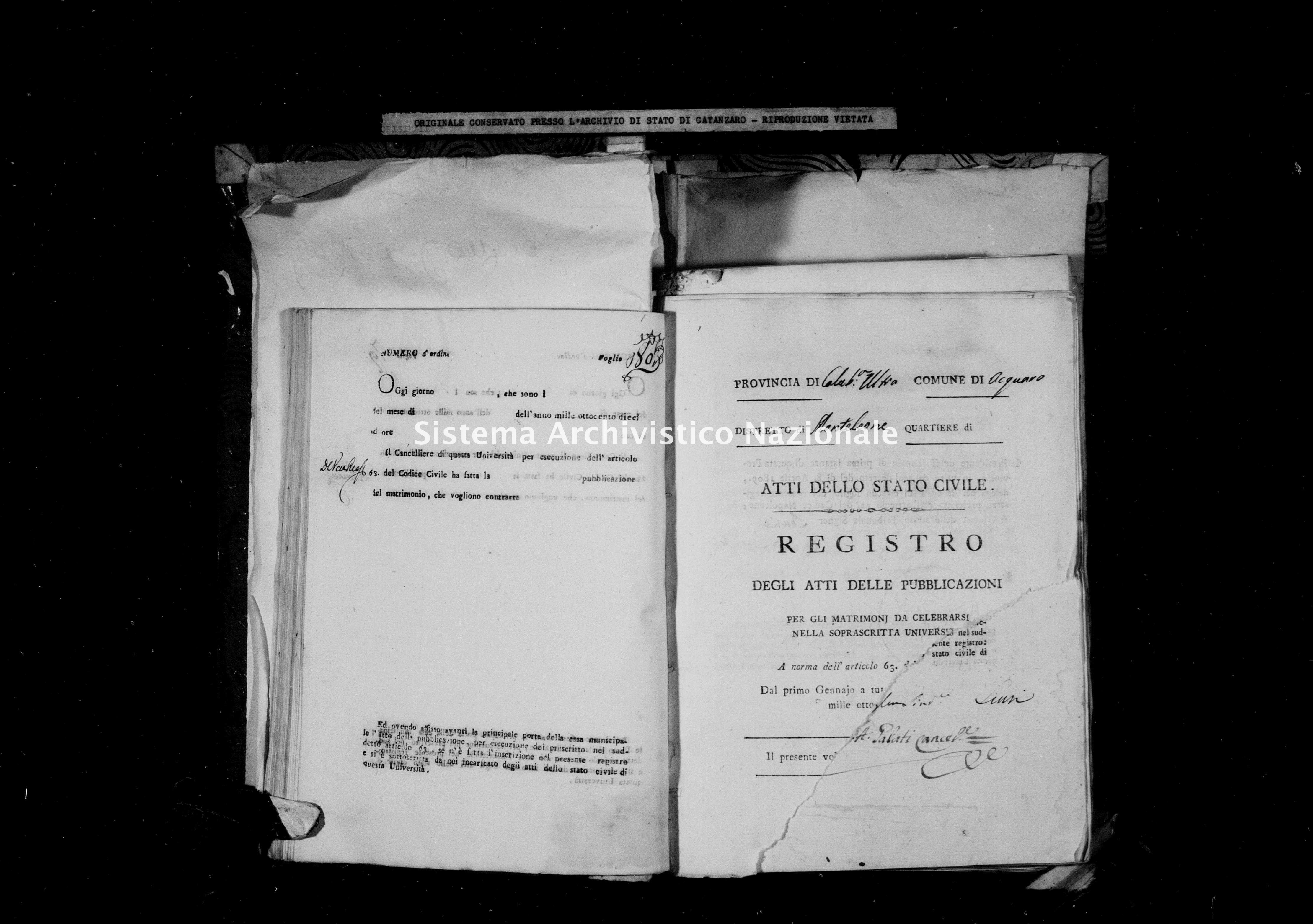 Archivio di stato di Catanzaro - Stato civile napoleonico - Acquaro - Matrimoni, pubblicazioni - 1811 -