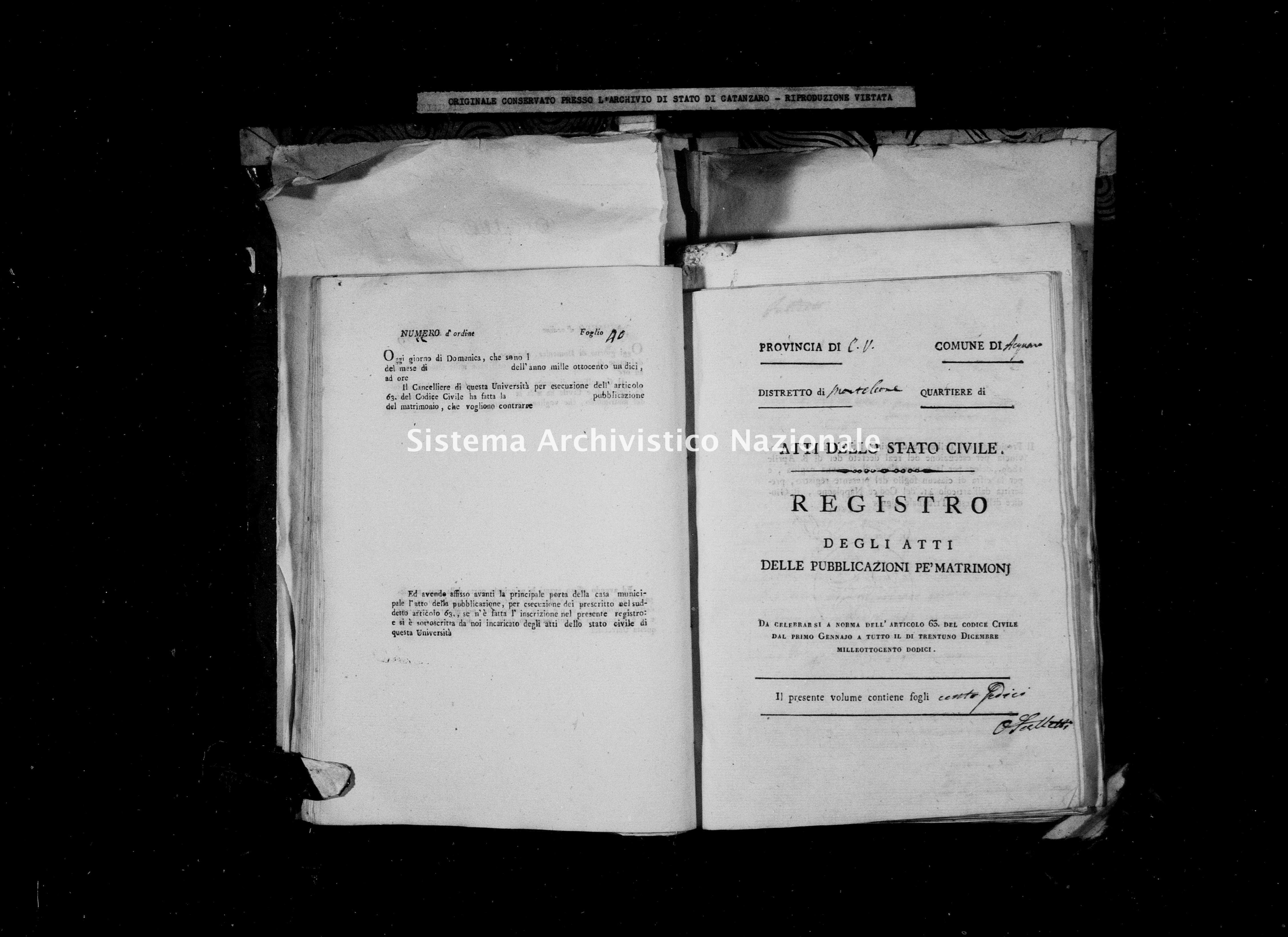 Archivio di stato di Catanzaro - Stato civile napoleonico - Acquaro - Matrimoni, pubblicazioni - 1812 -
