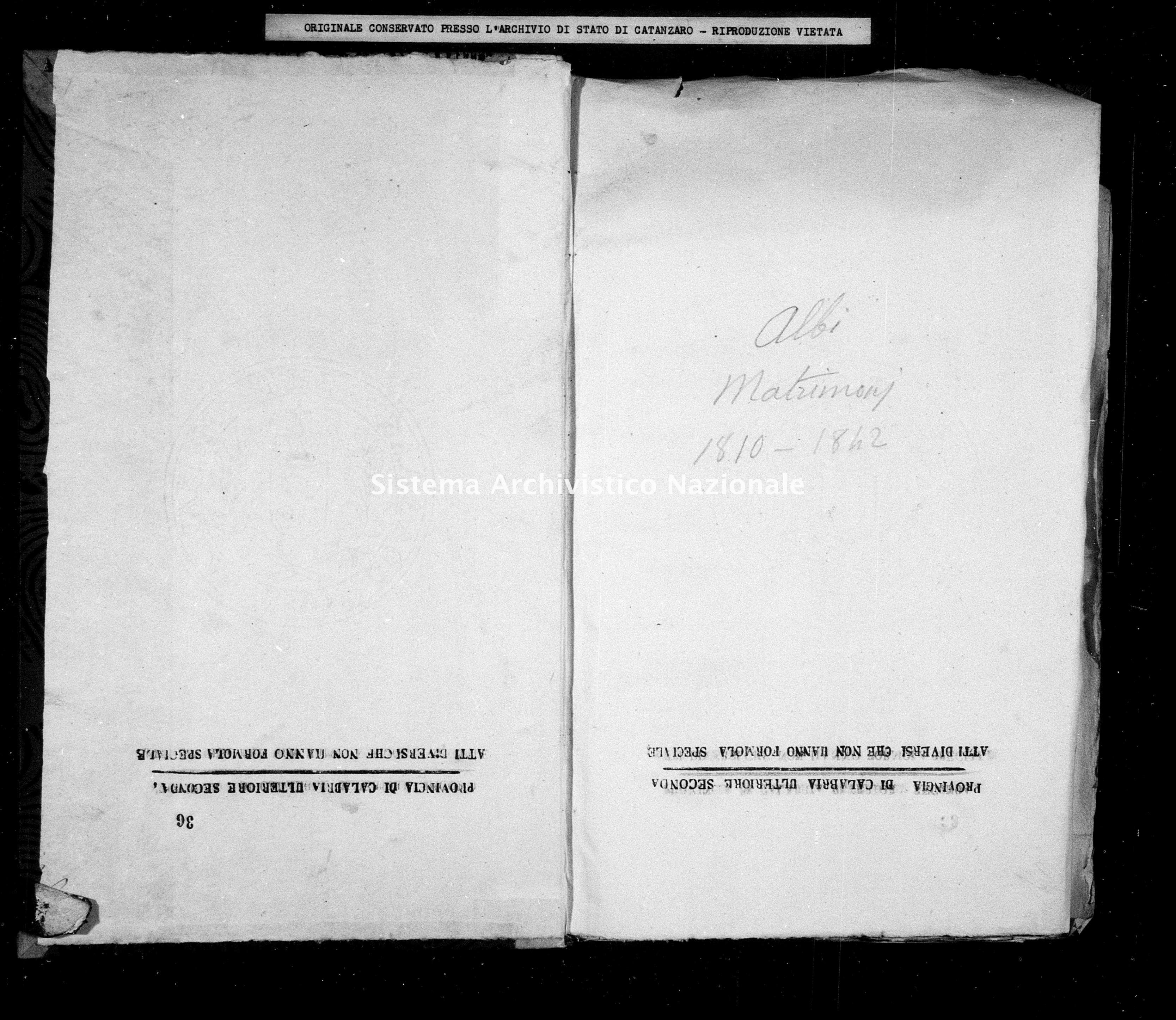 Archivio di stato di Catanzaro - Stato civile napoleonico - Albi - Matrimoni - 1810 -