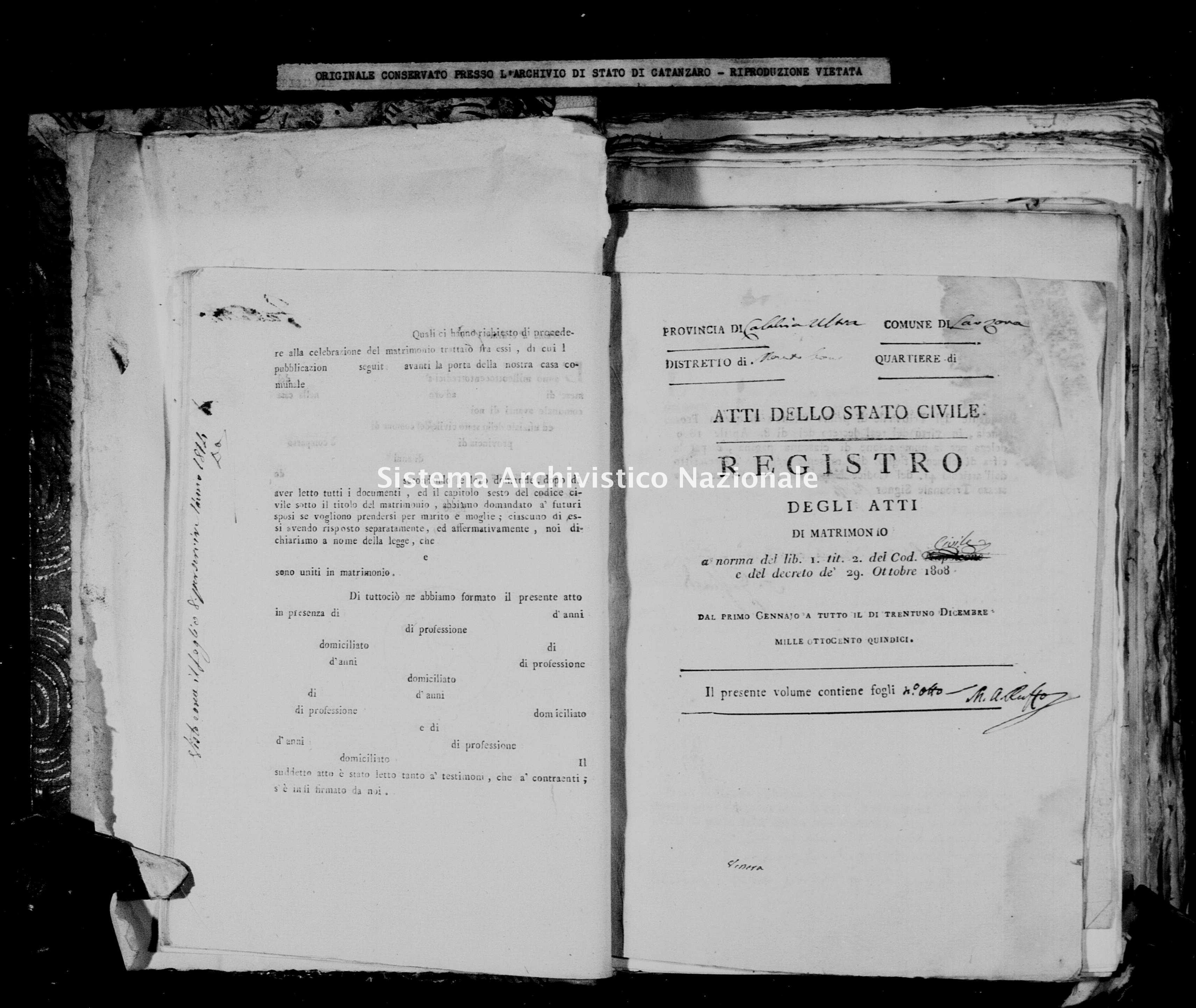 Archivio di stato di Catanzaro - Stato civile napoleonico - Arzona - Matrimoni - 1815 -
