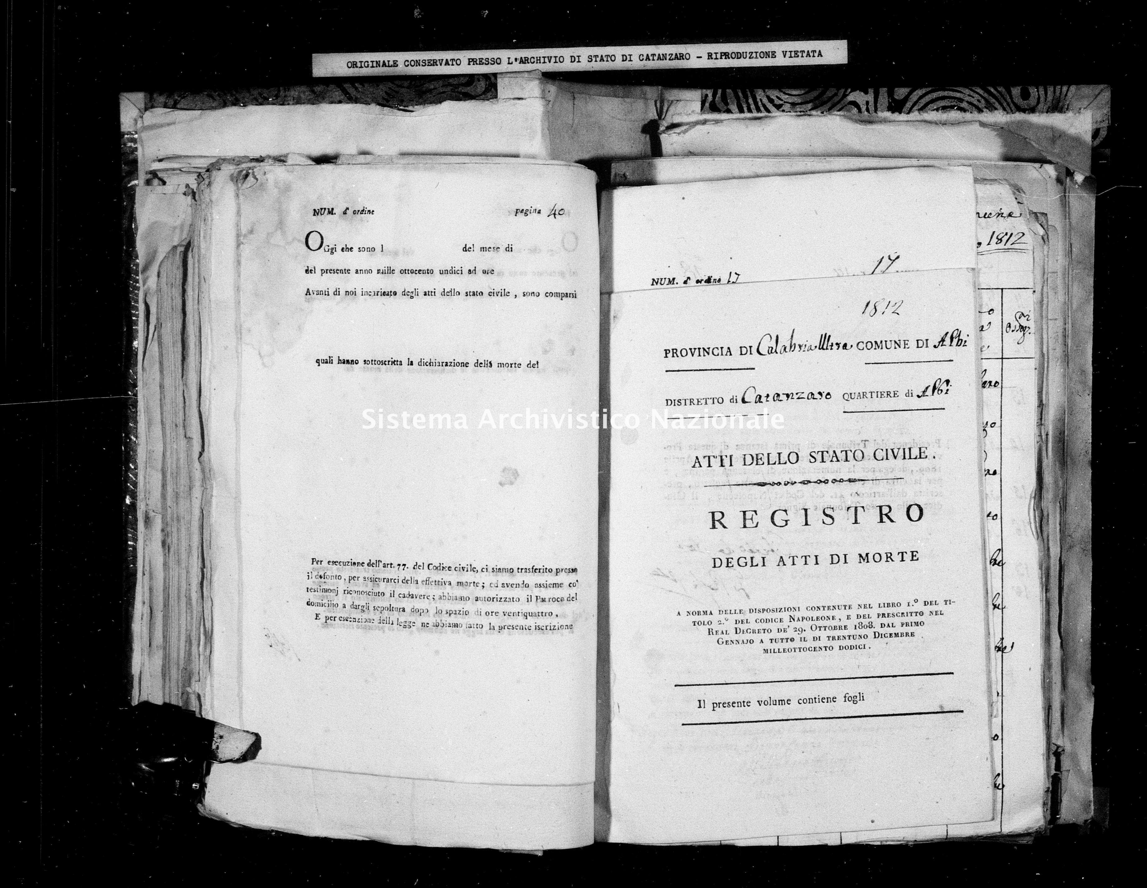 Archivio di stato di Catanzaro - Stato civile italiano - Albi - Morti - 1812 -