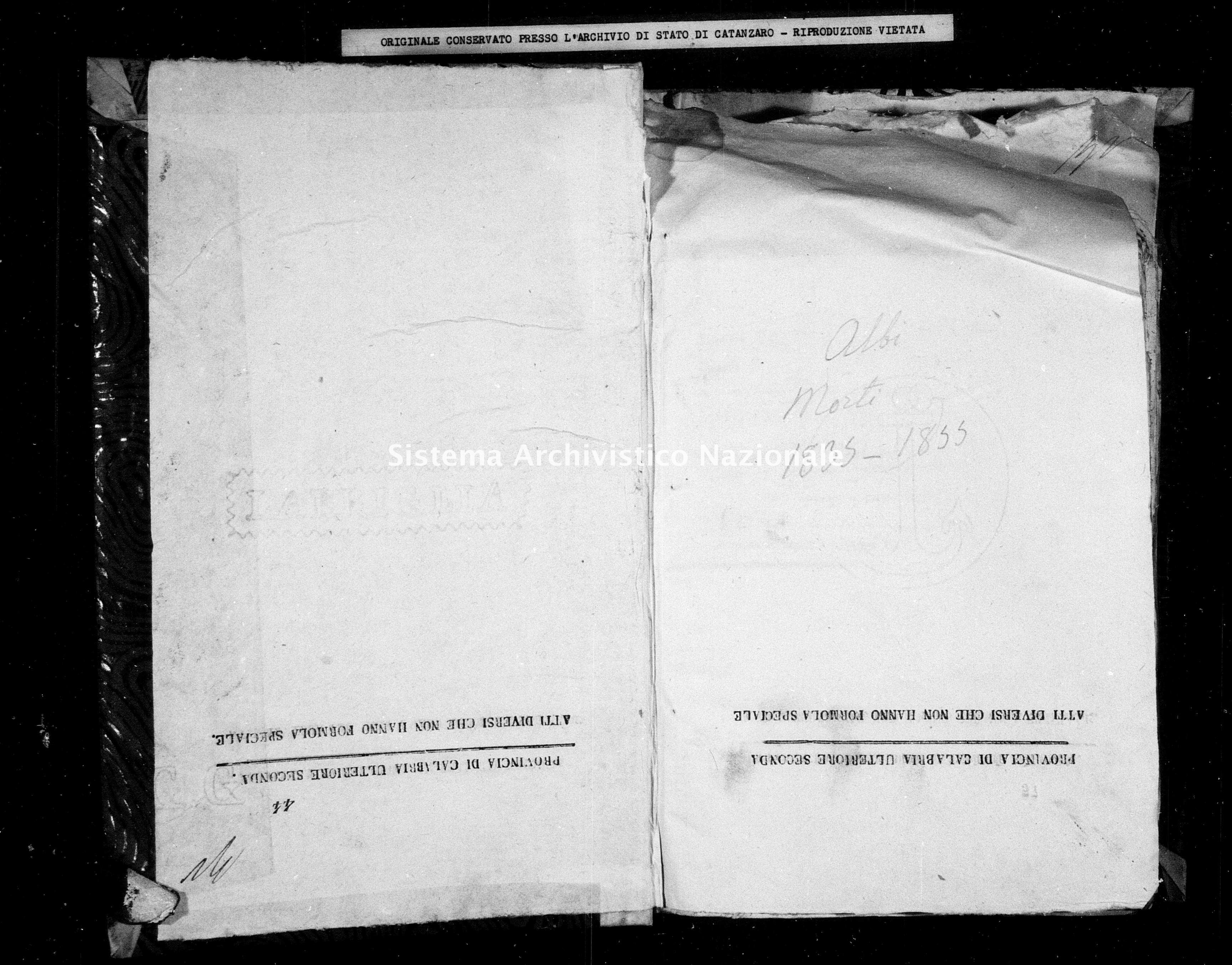 Archivio di stato di Catanzaro - Stato civile italiano - Albi - Morti - 05/01/1835-23/07/1835 -