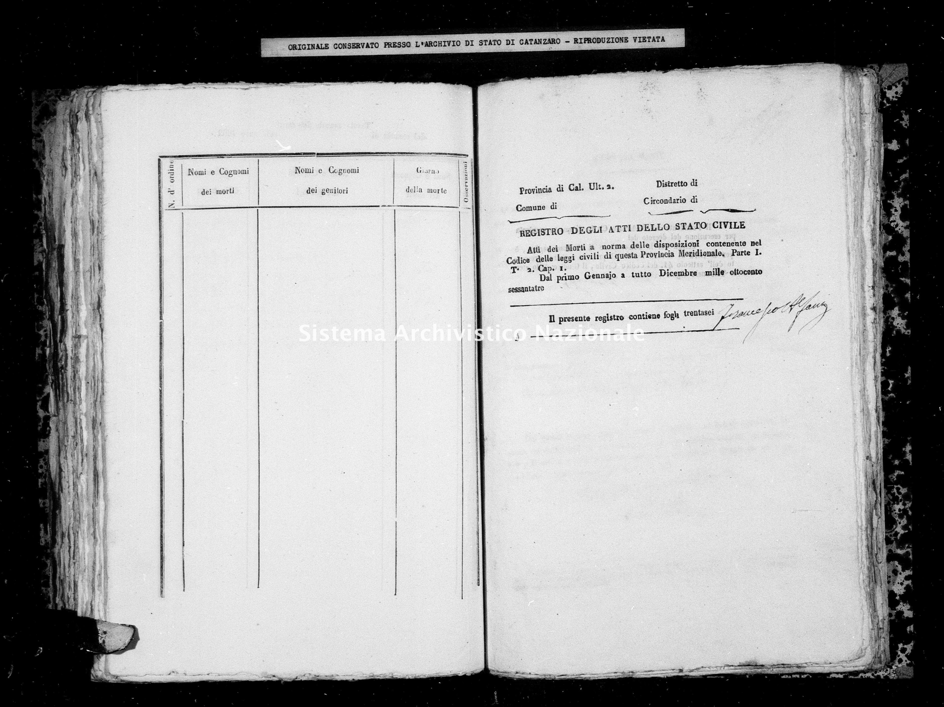 Archivio di stato di Catanzaro - Stato civile italiano - Albi - Morti - 1863 -