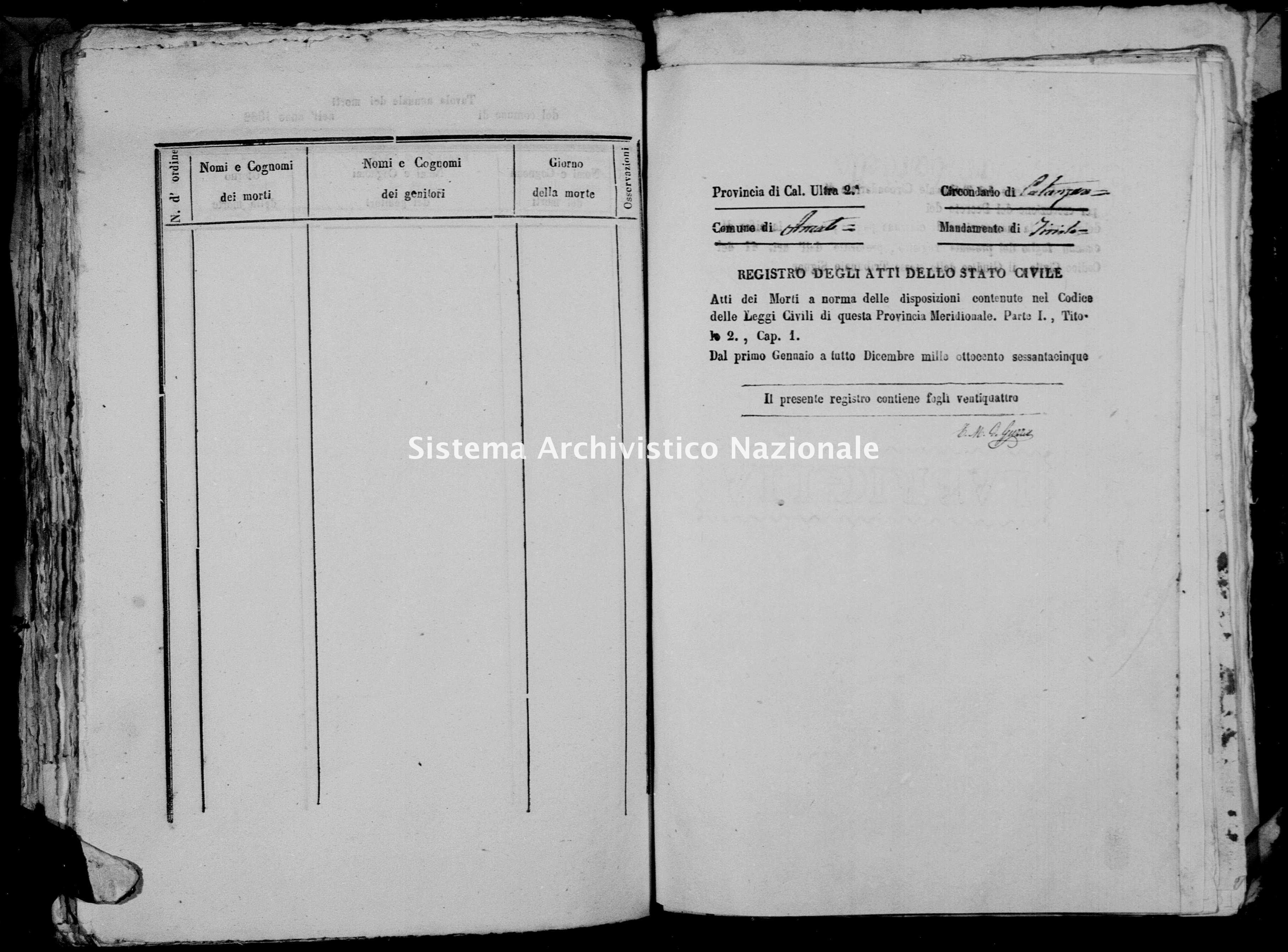 Archivio di stato di Catanzaro - Stato civile italiano - Amato - Morti - 1865 -