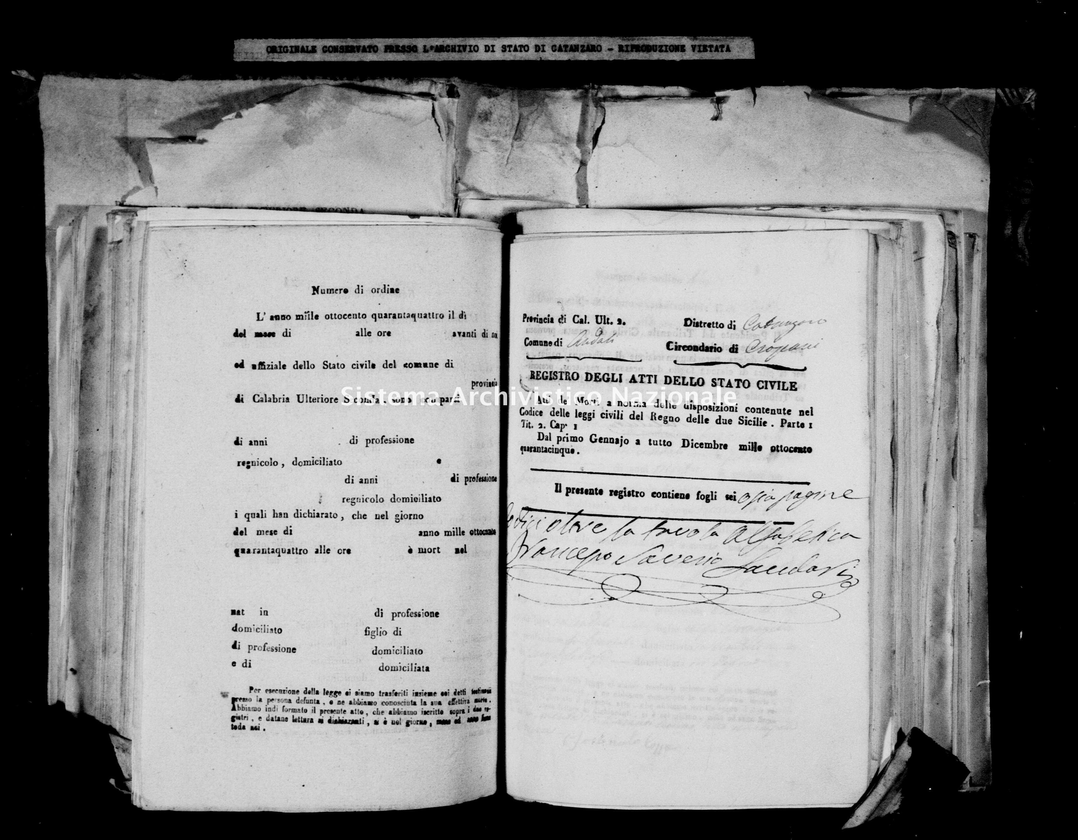Archivio di stato di Catanzaro - Stato civile italiano - Andali - Morti - 20/01/1845-21/09/1845 -