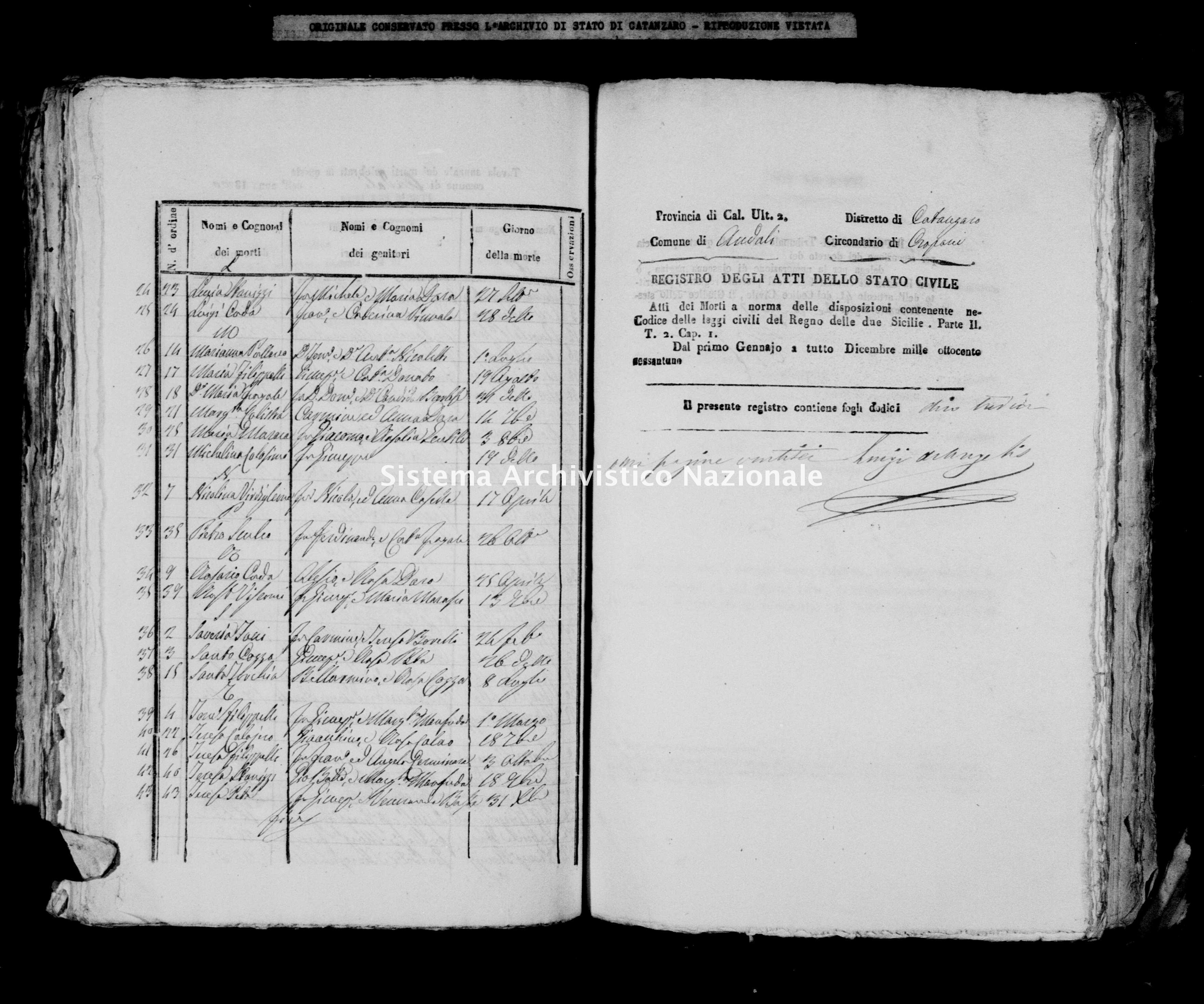 Archivio di stato di Catanzaro - Stato civile italiano - Andali - Morti - 1861 -