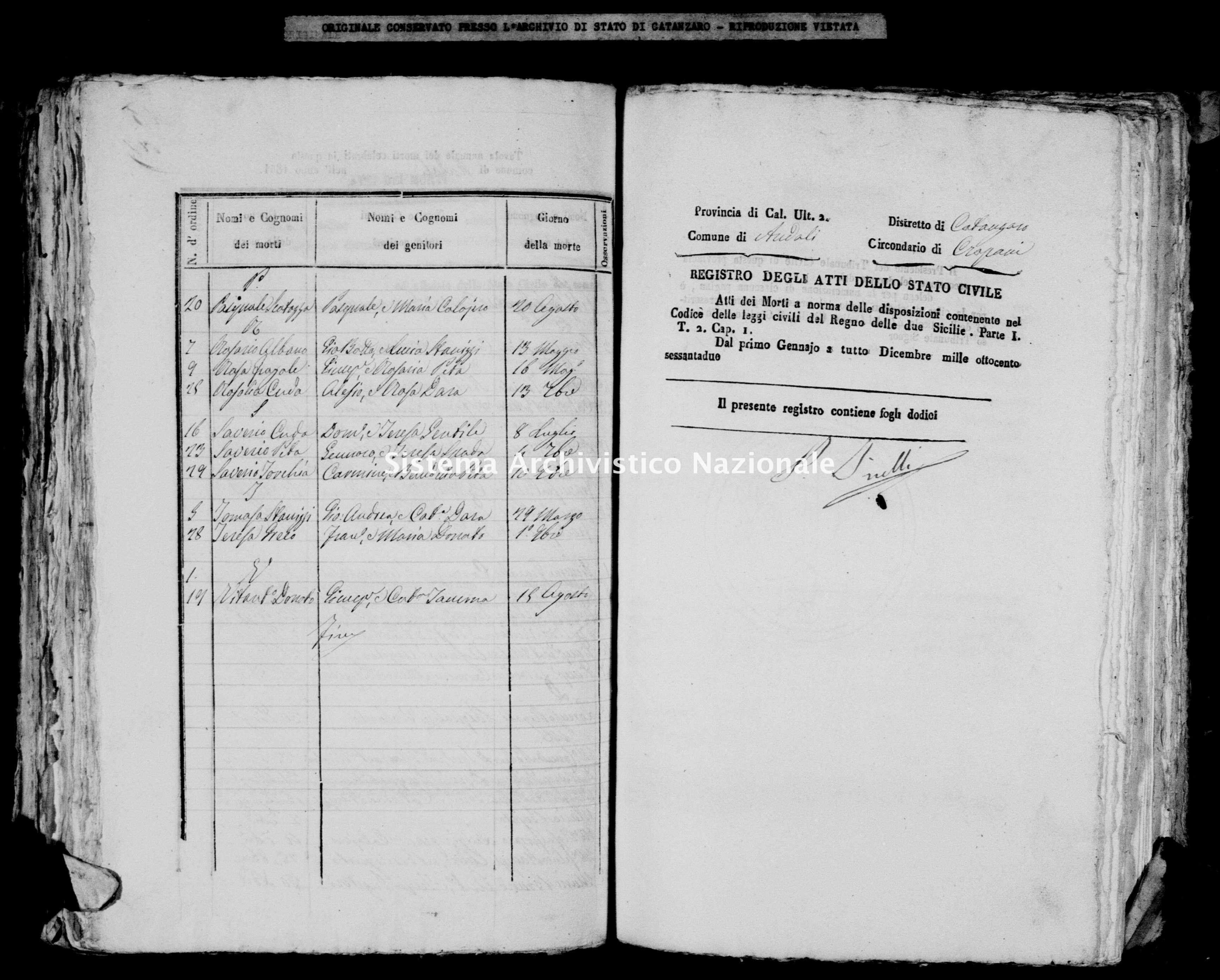 Archivio di stato di Catanzaro - Stato civile italiano - Andali - Morti - 1862 -