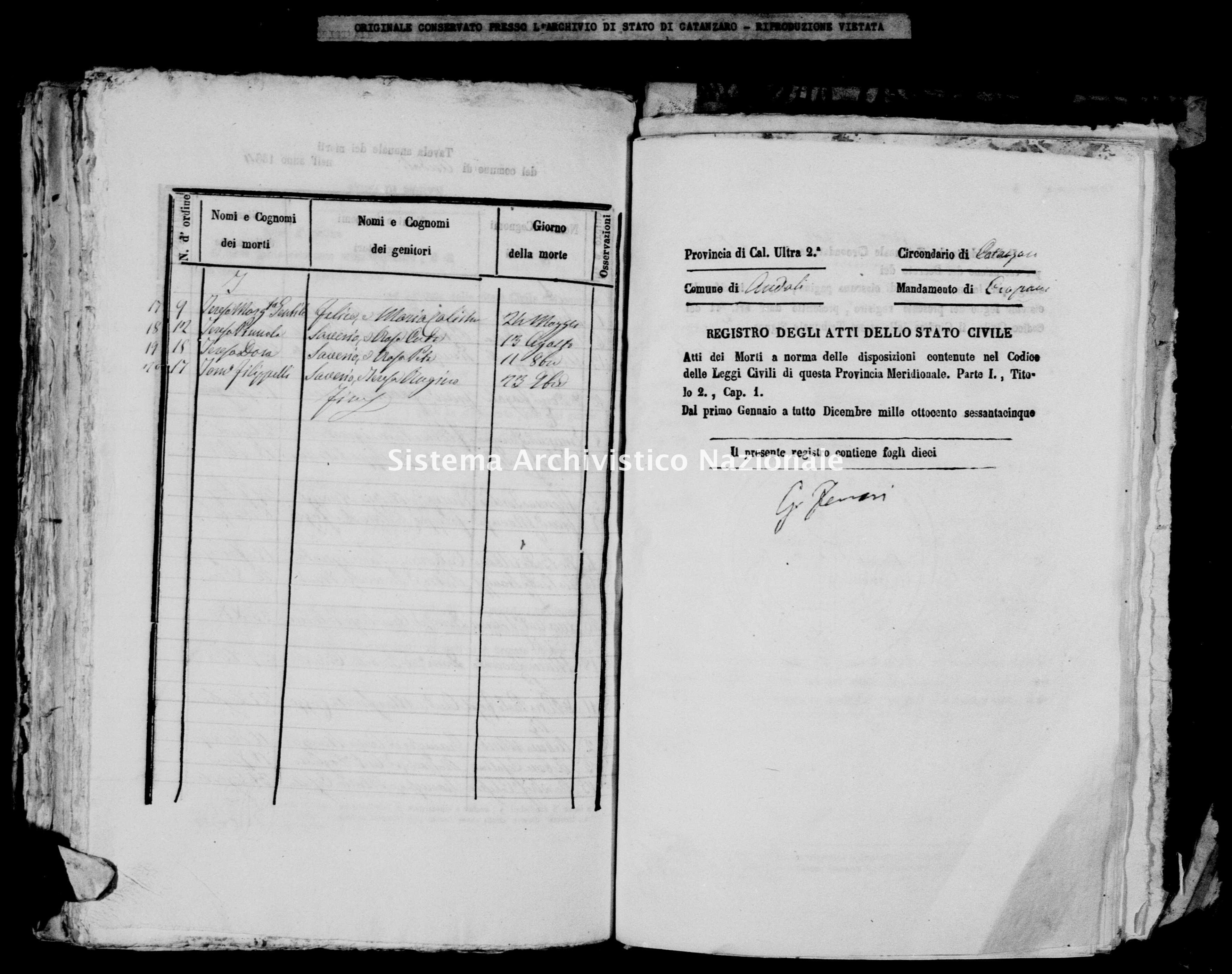 Archivio di stato di Catanzaro - Stato civile italiano - Andali - Morti - 1865 -