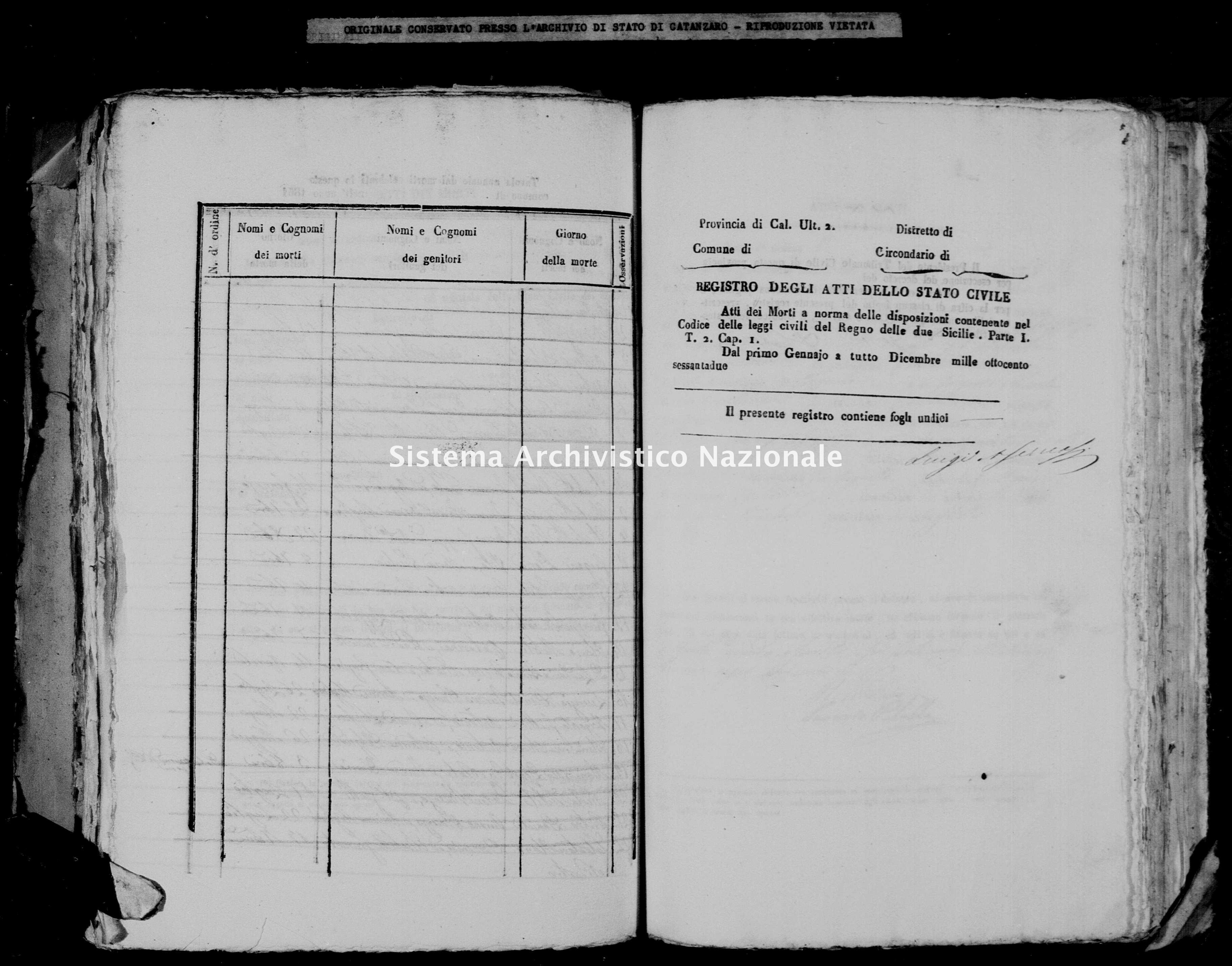 Archivio di stato di Catanzaro - Stato civile italiano - Argusto - Morti - 1862 -