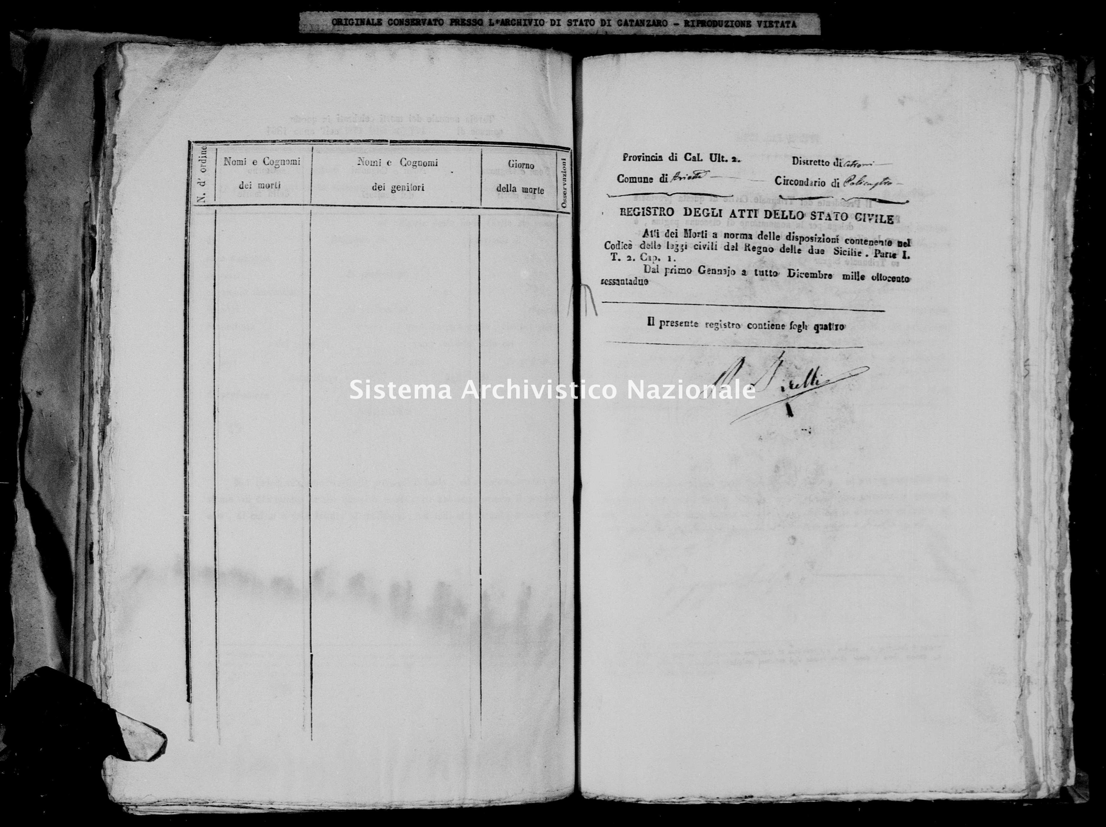 Archivio di stato di Catanzaro - Stato civile italiano - Arietta - Morti - 1862 -