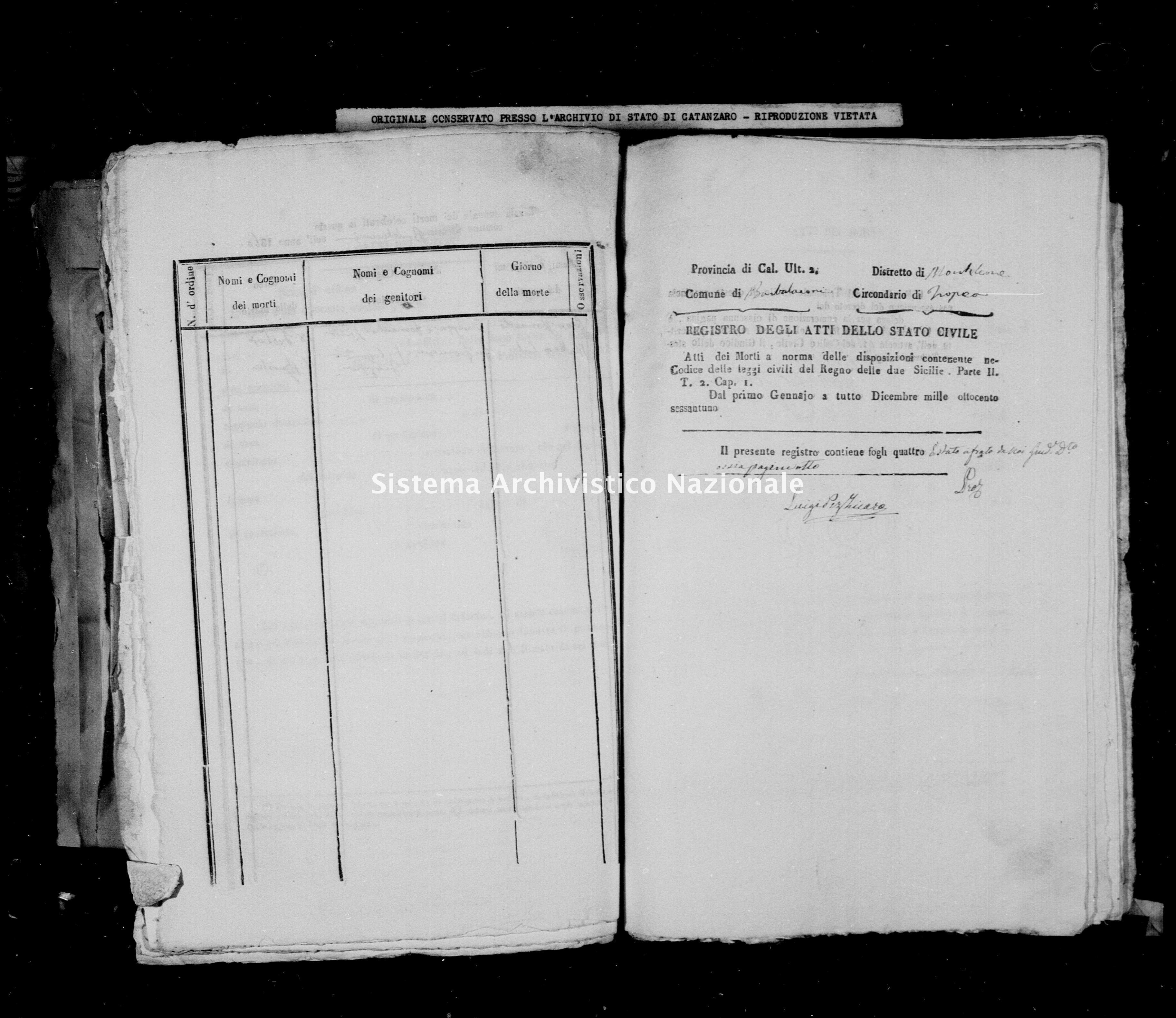 Archivio di stato di Catanzaro - Stato civile italiano - Barbalaconi - Morti - 1861 -