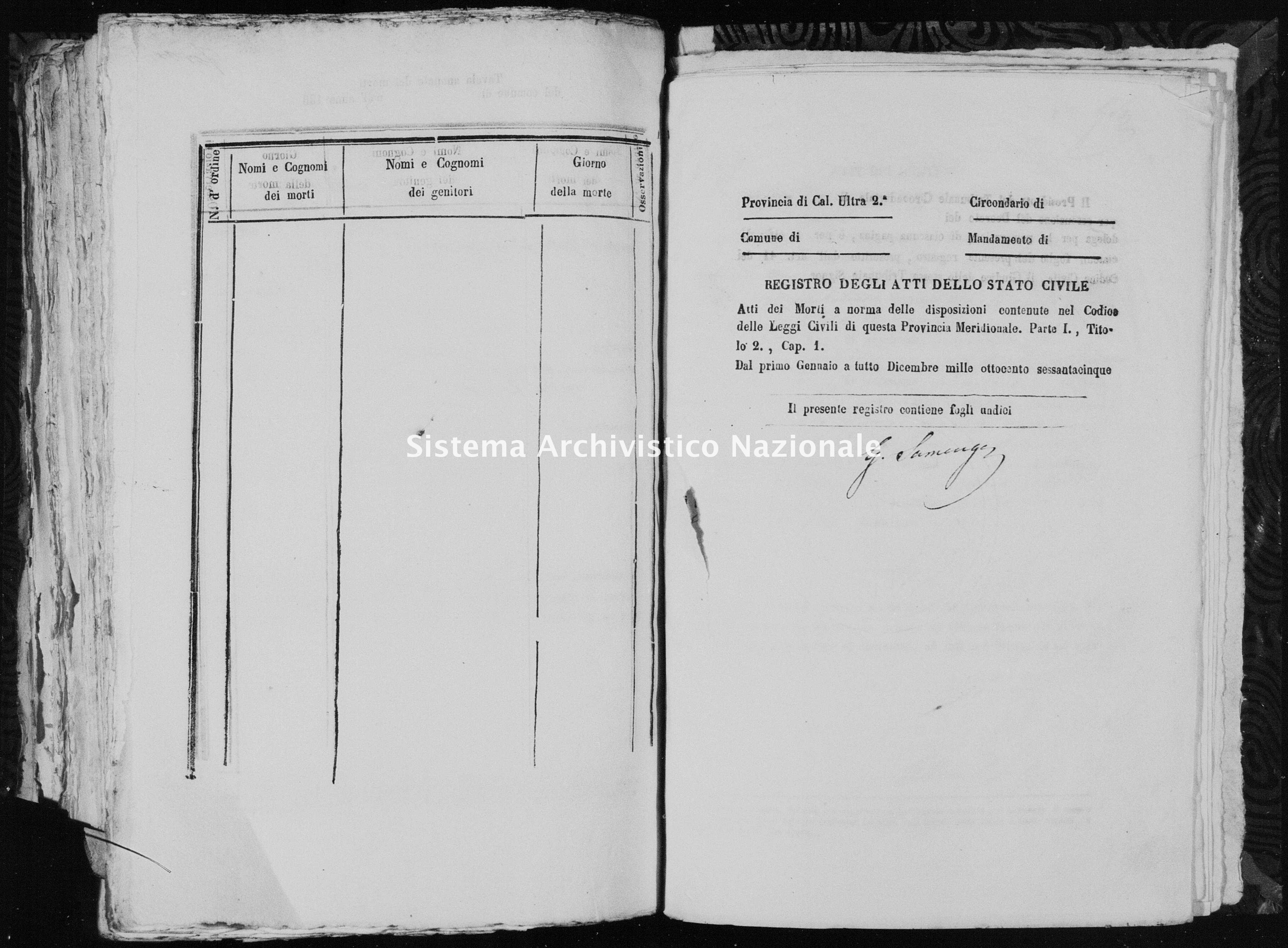 Archivio di stato di Catanzaro - Stato civile italiano - Belvedere di Spinello - Morti - 1865 -