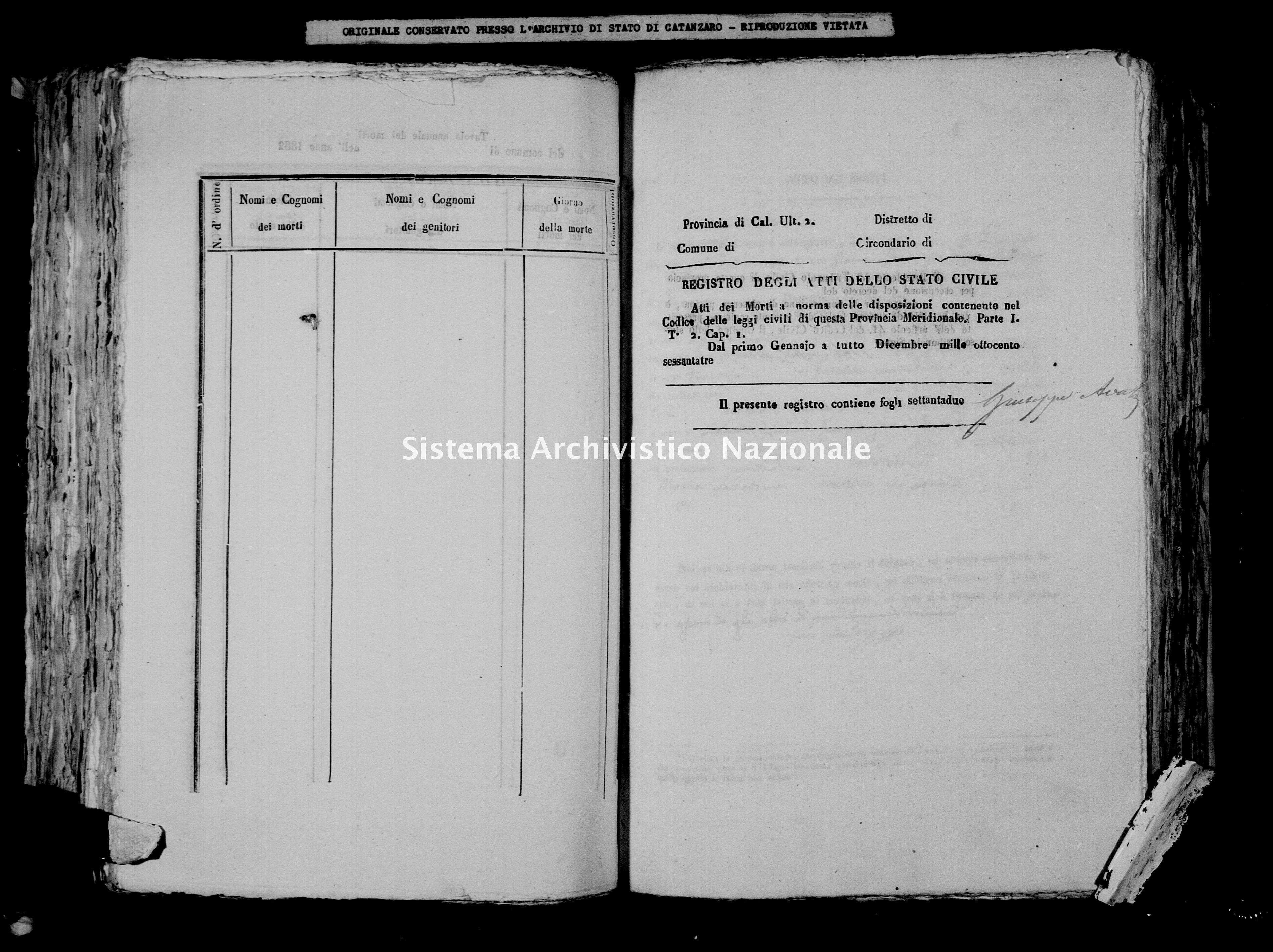 Archivio di stato di Catanzaro - Stato civile italiano - Borgia - Morti - 1863 -