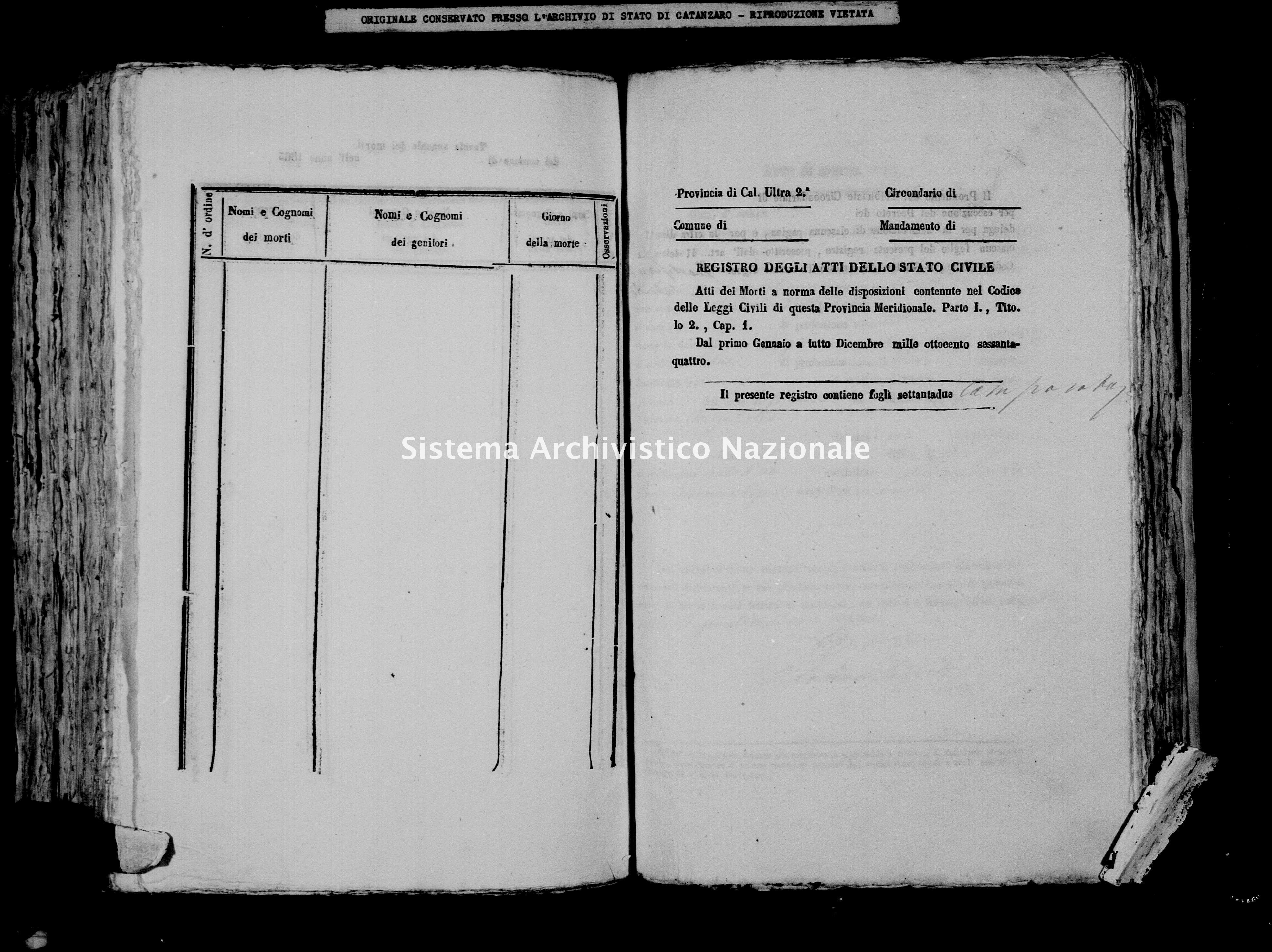 Archivio di stato di Catanzaro - Stato civile italiano - Borgia - Morti - 1864 -