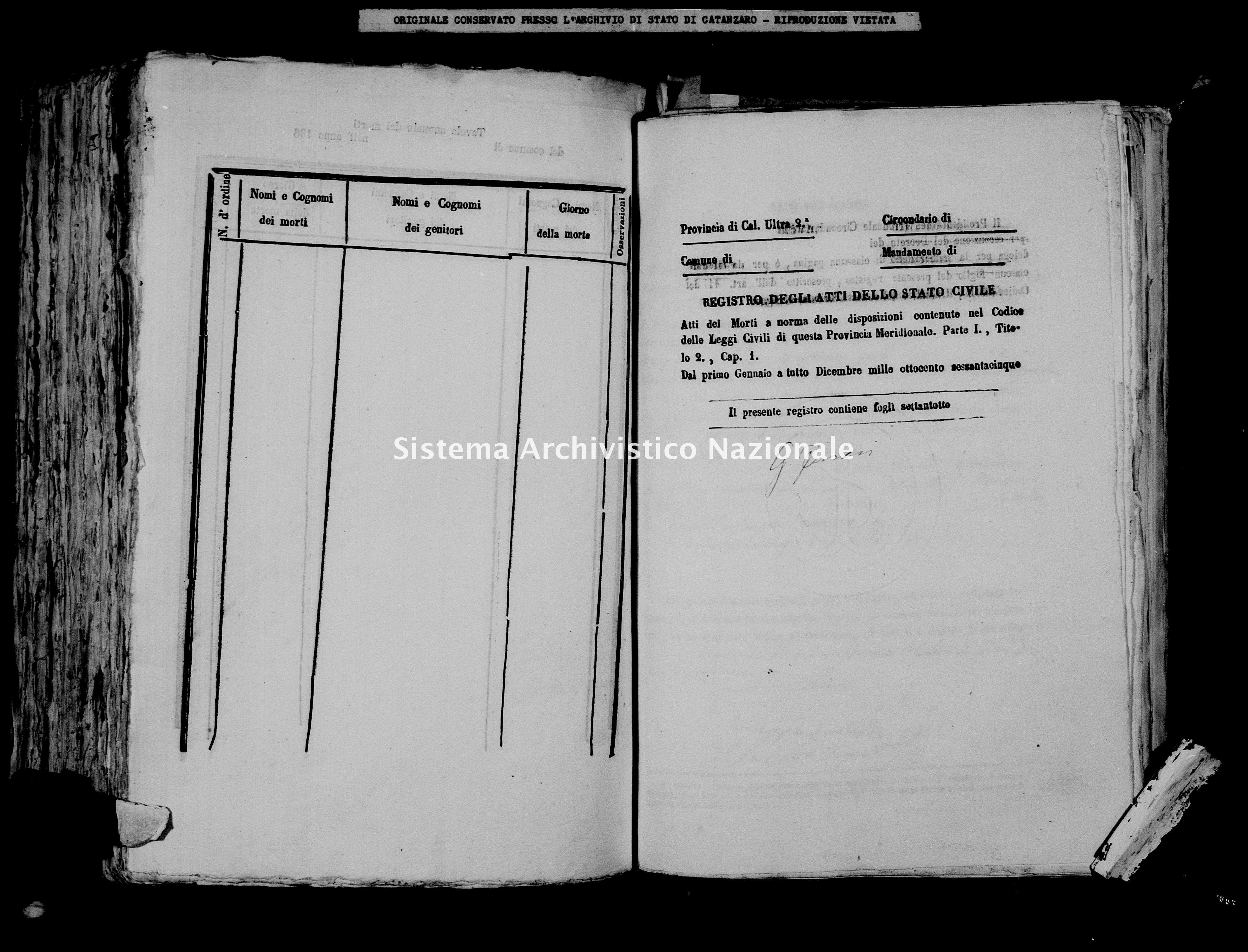 Archivio di stato di Catanzaro - Stato civile italiano - Borgia - Morti - 1865 -