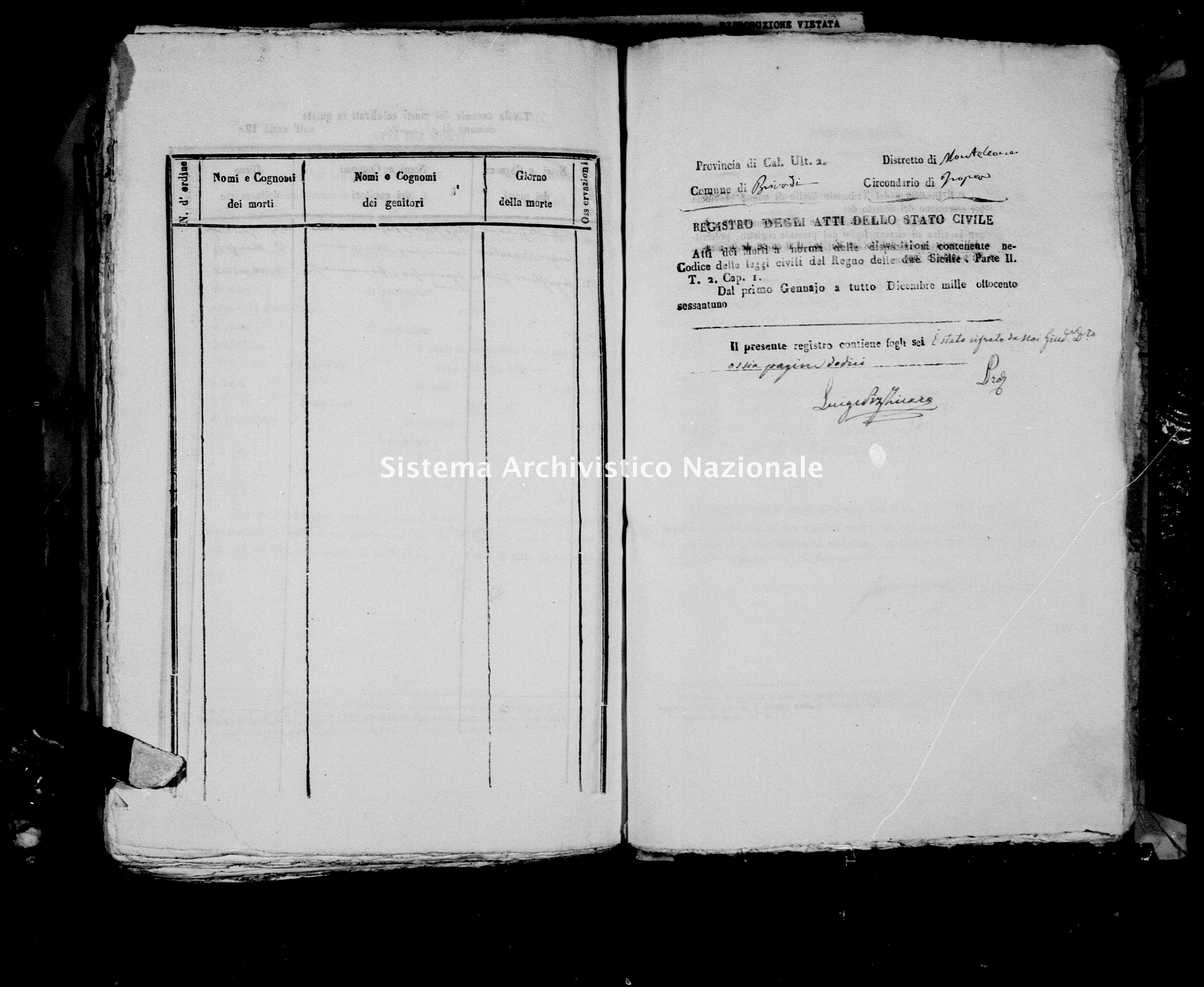 Archivio di stato di Catanzaro - Stato civile italiano - Brivadi - Morti - 1861 -