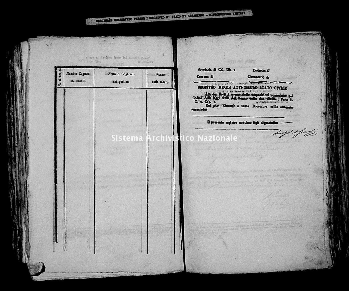 Archivio di stato di Catanzaro - Stato civile italiano - Cardinale - Morti - 1862 -