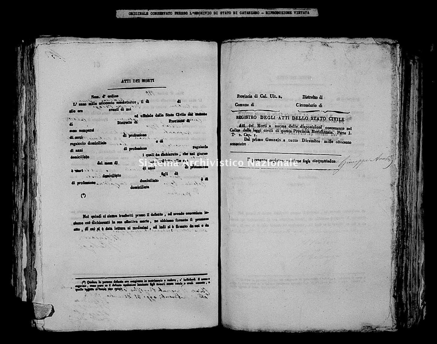 Archivio di stato di Catanzaro - Stato civile italiano - Cardinale - Morti - 1863 -